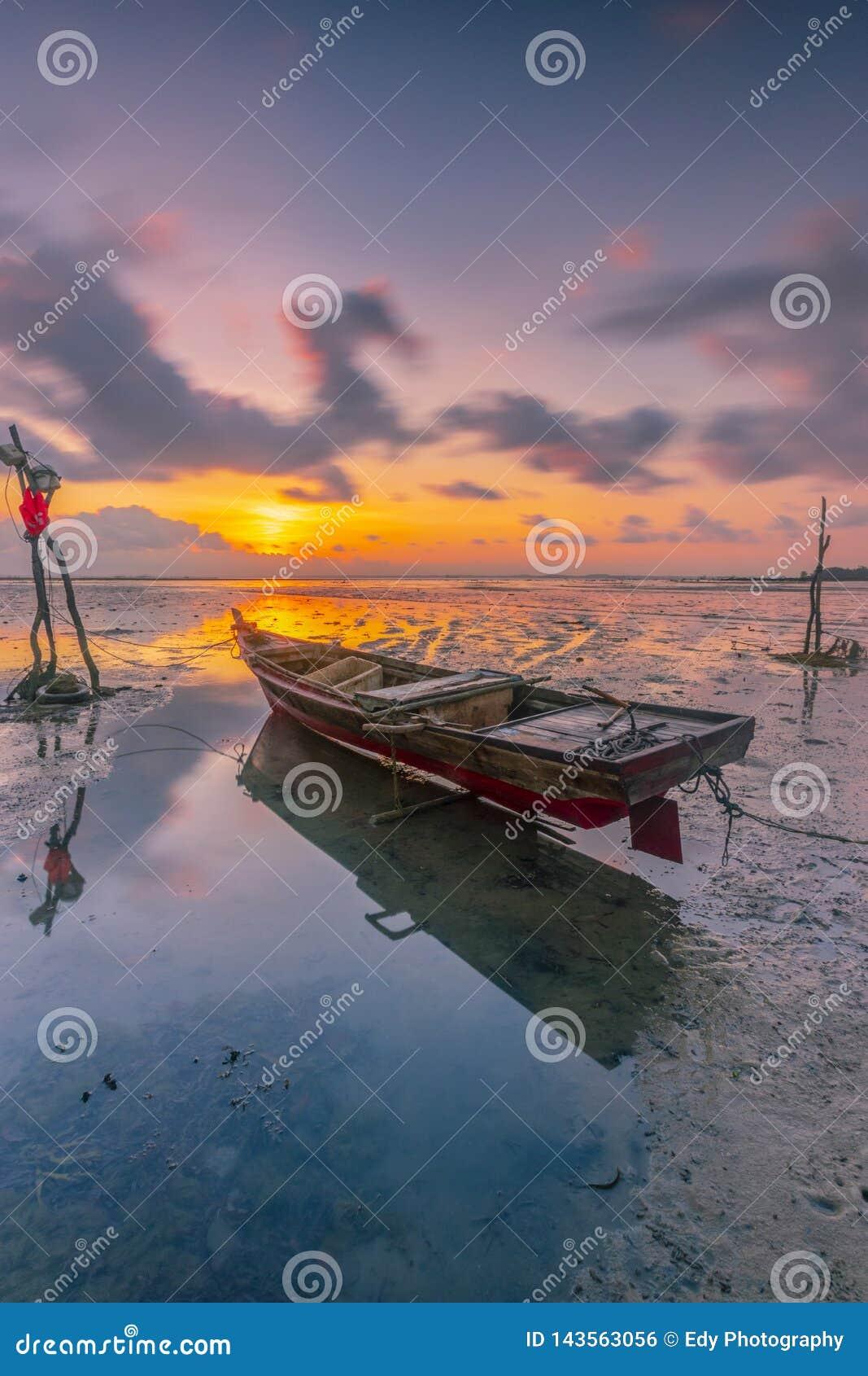 Beautiful sunrise at fishing viilage