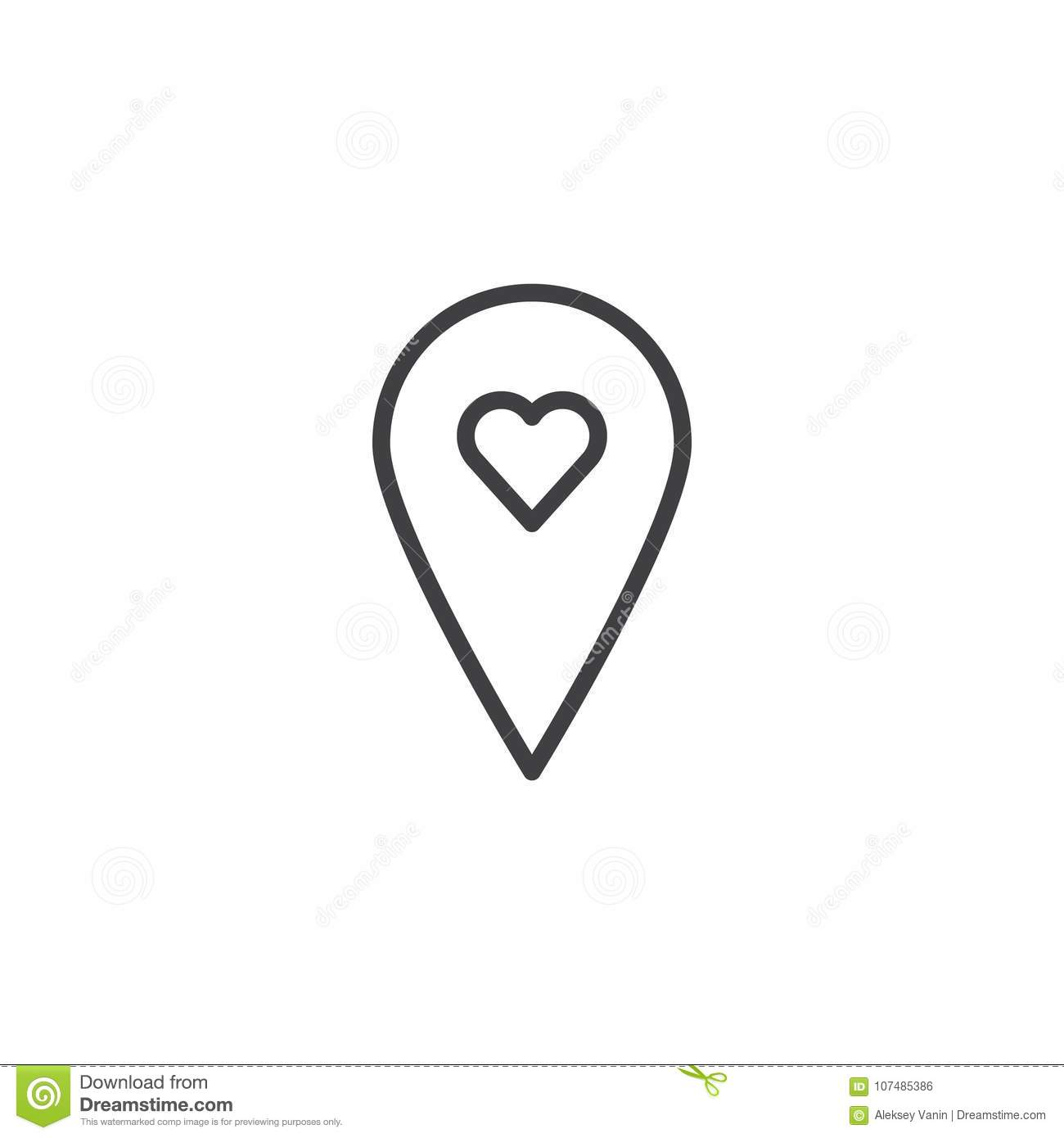 Location Pin With Love Line Icon Stock Vector Illustration Of