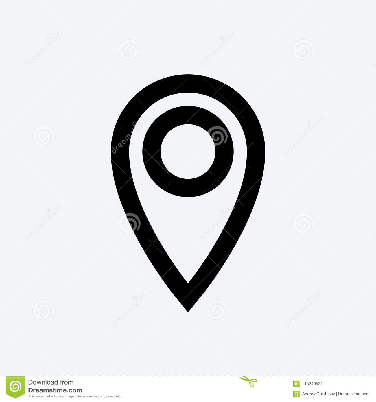 location pin outline vector gps icon stock vector illustration of