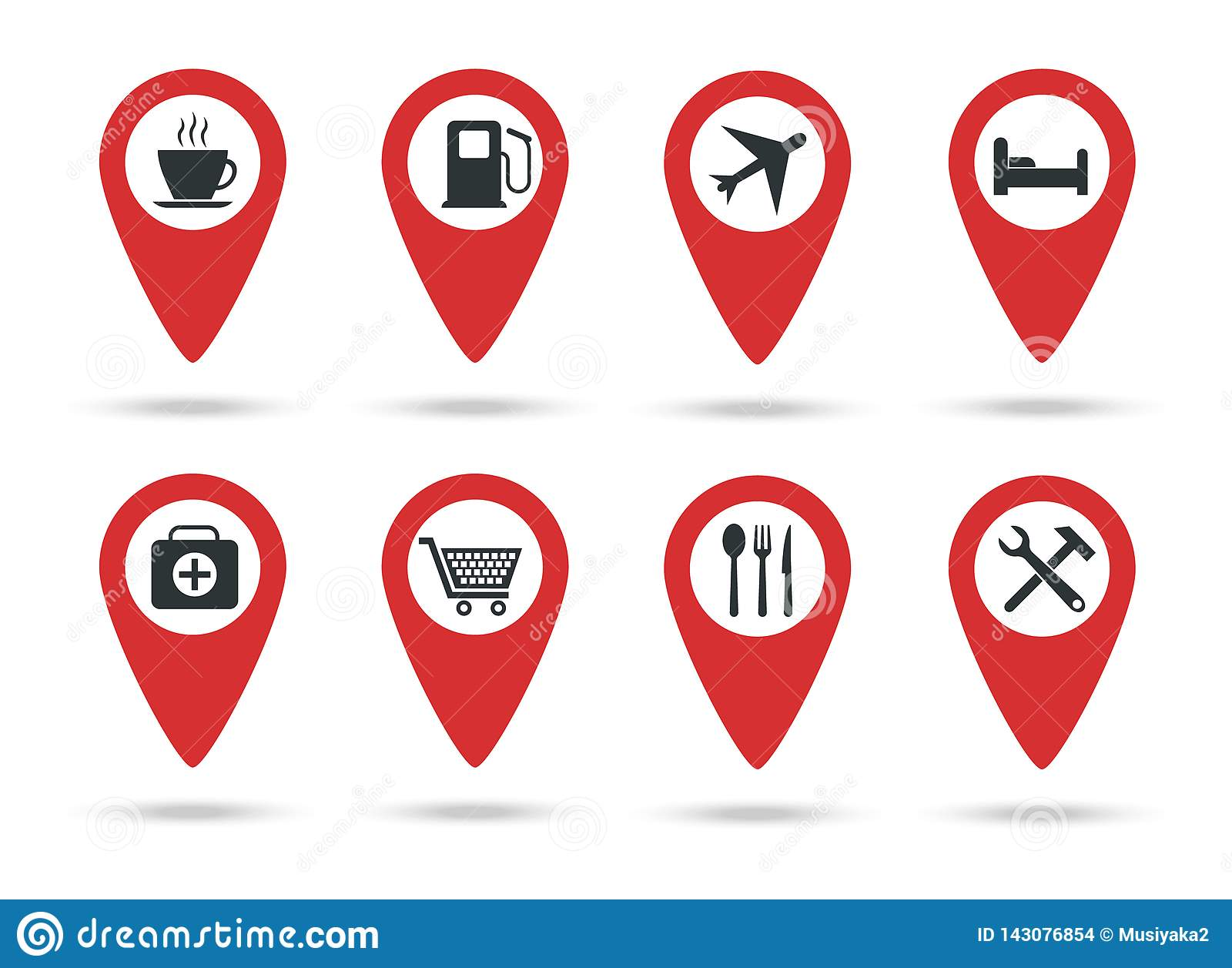 Locations icons. A collection of map markers with service marks. Vector illustration. Red flat locations