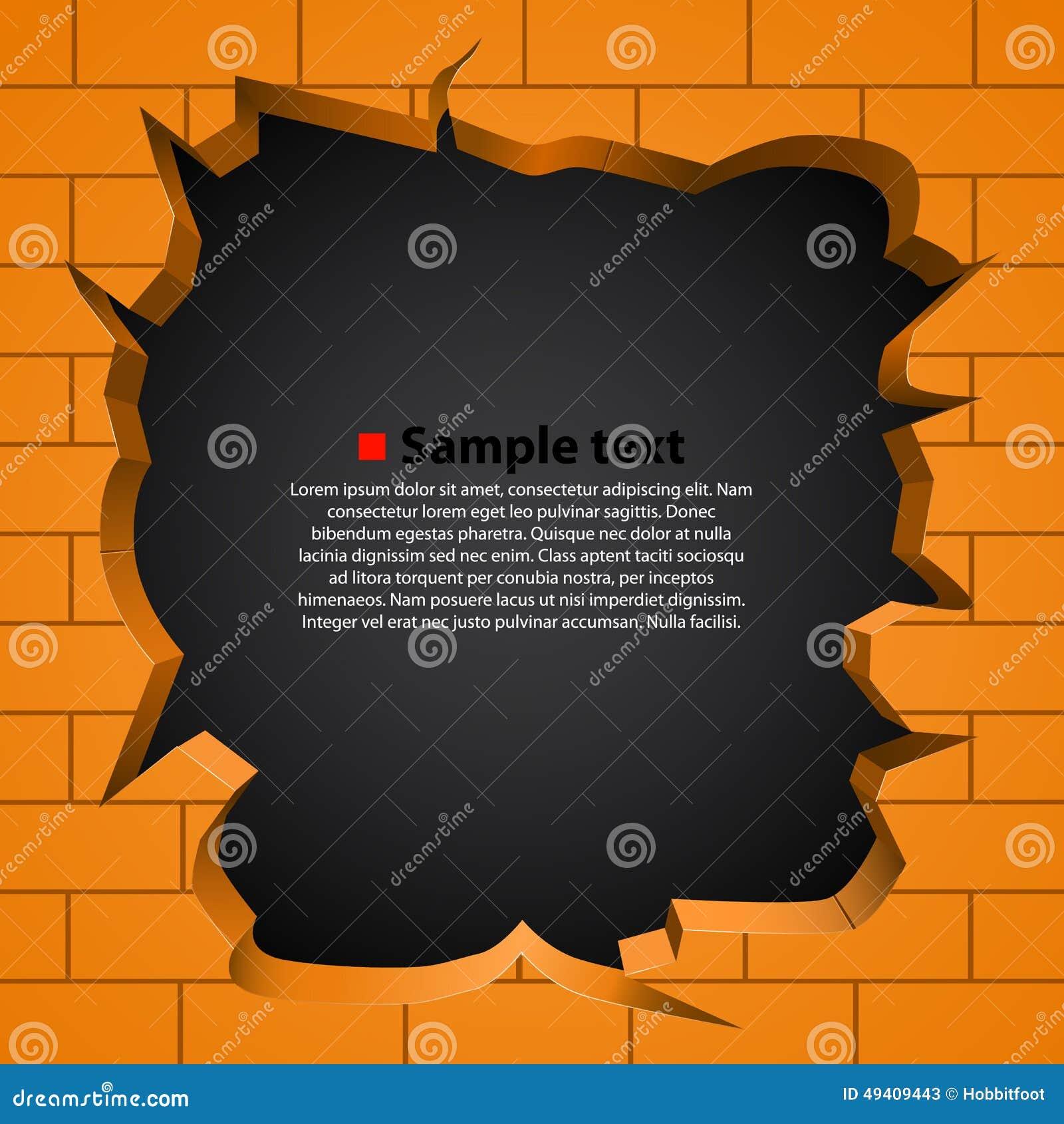 Download Loch In Der Defekten Wand Vektor Vektor Abbildung - Illustration von zerstörung, orange: 49409443
