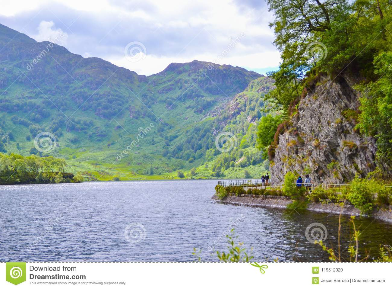 Loch Katrine Katrine Lake in Highlands, Scotland. Beautiful lake in middle of nature and mountains