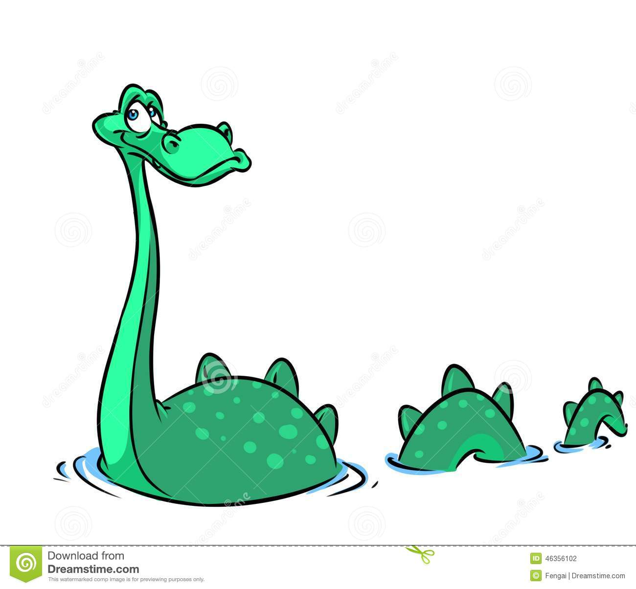 Loch Ness Monster Cartoon Illustration Stock Illustration