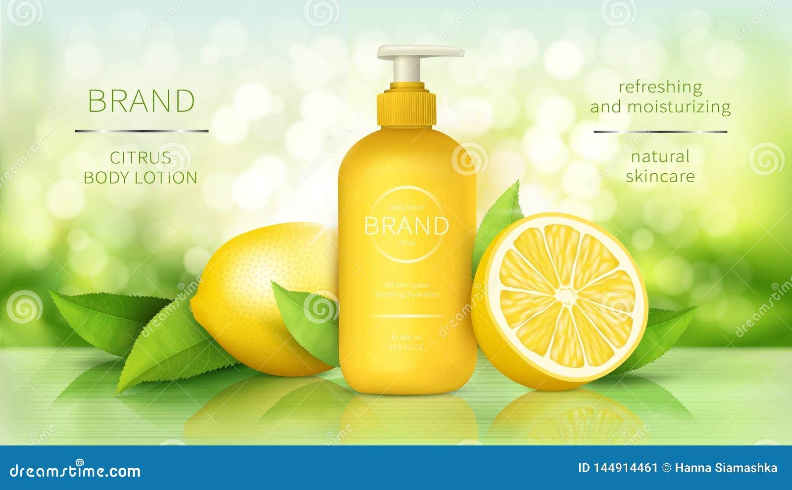 Loción del cuerpo con los anuncios realistas del vector del limón