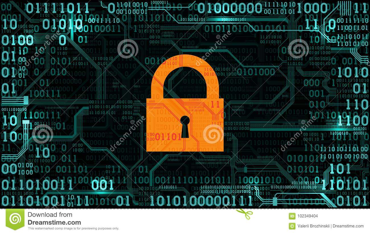 Lock On The Background Abstract Futuristic Electronic Stock Vector Abstact With Circuit Board And Binary Code Images