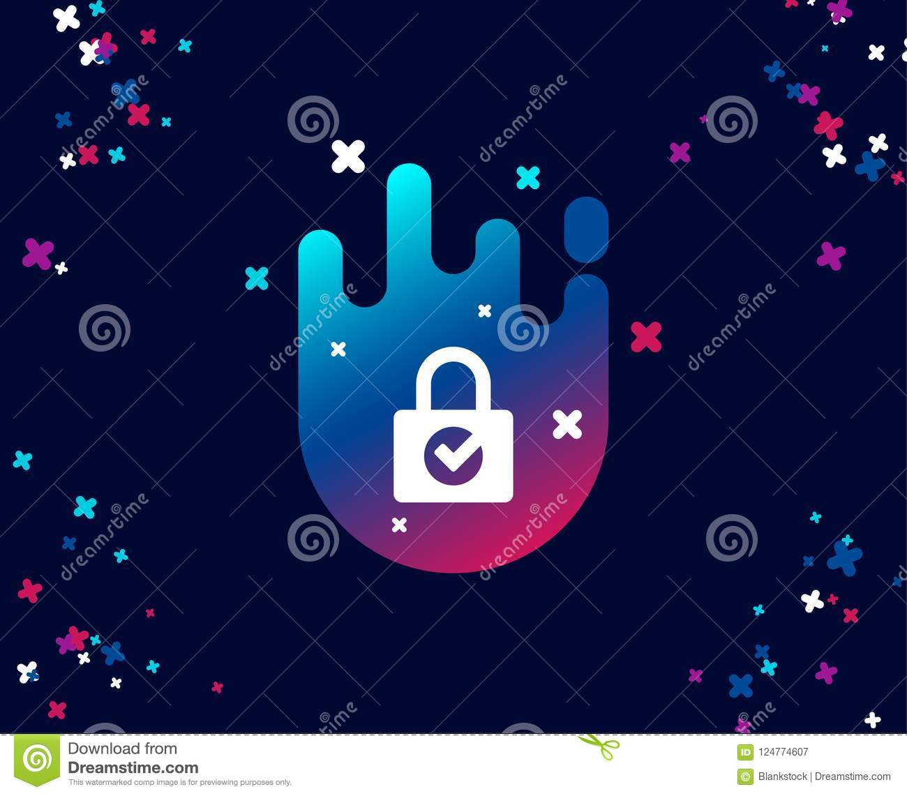 Lock With Check Simple Icon Private Locker Sign Stock Vector
