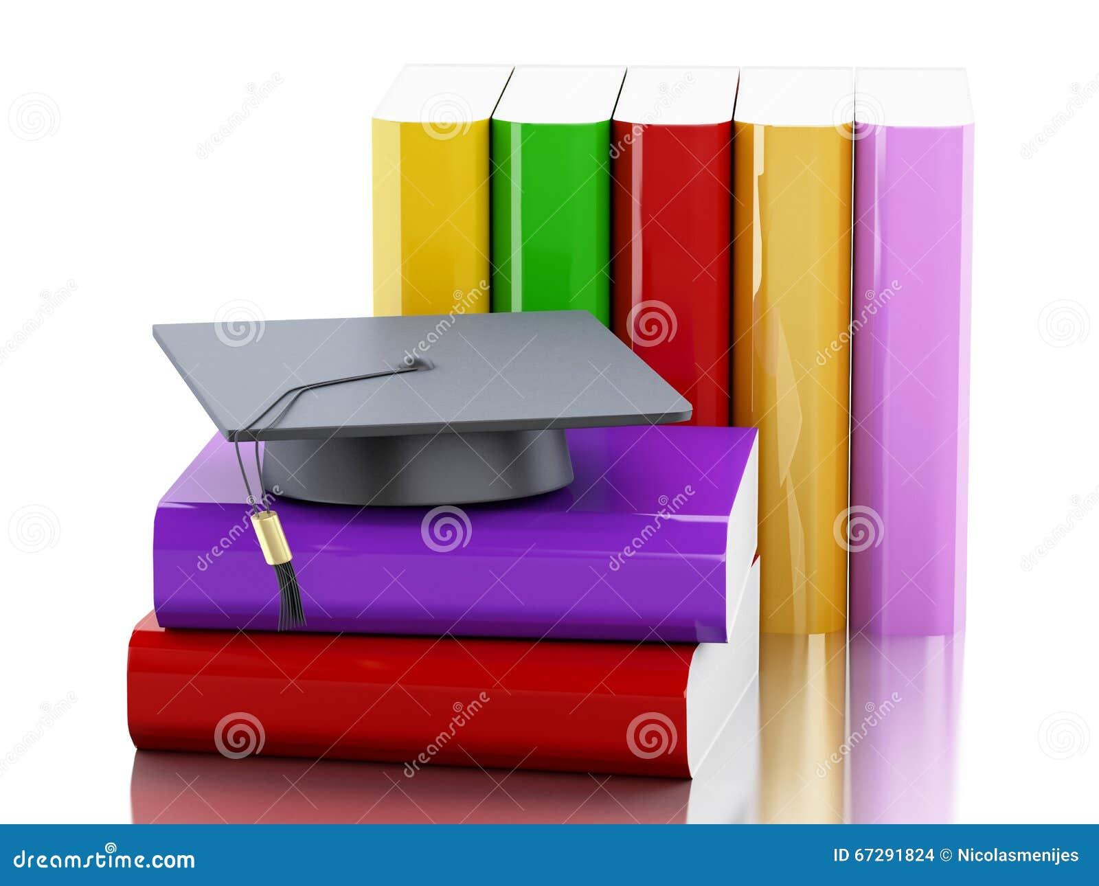 Lock för avläggande av examen 3d och bunt av böcker