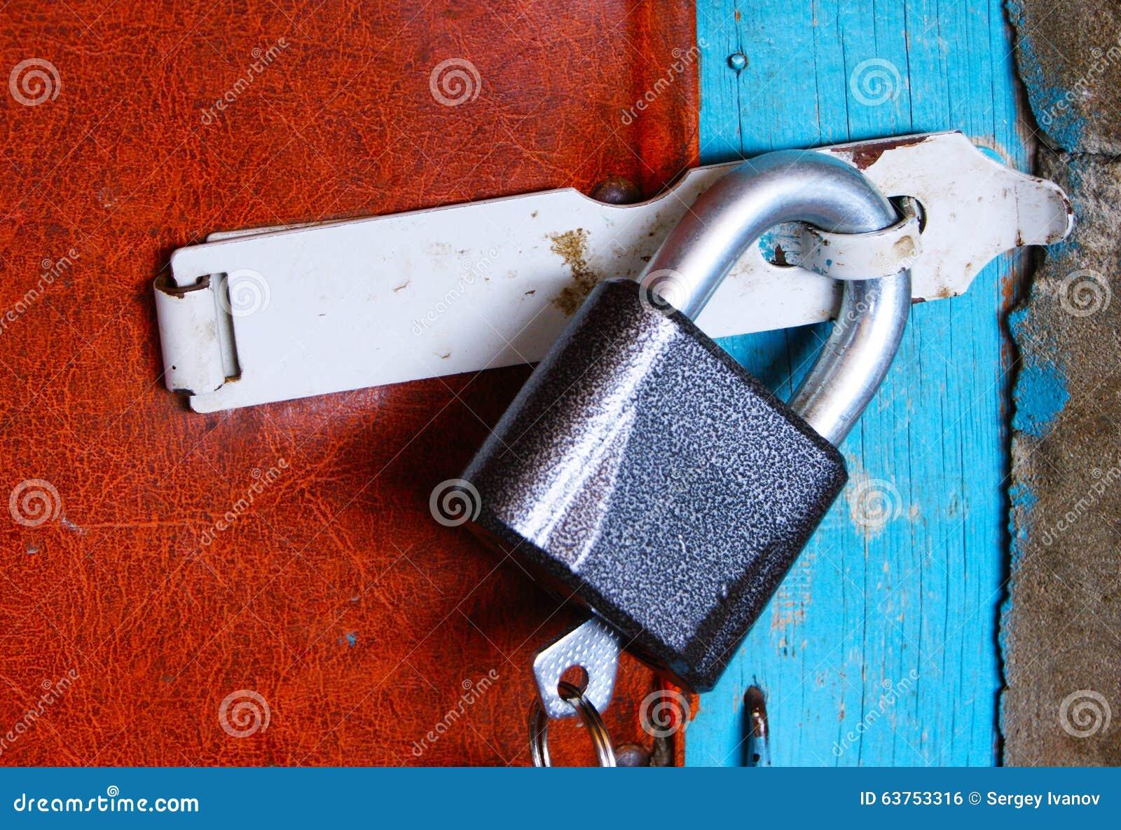 Lock Hanging On The Door Stock Photo Image 63753316