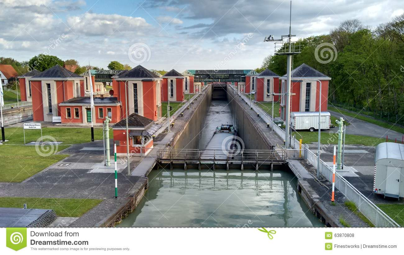 lock at ship canal in hannover germany editorial stock photo image 63870808. Black Bedroom Furniture Sets. Home Design Ideas