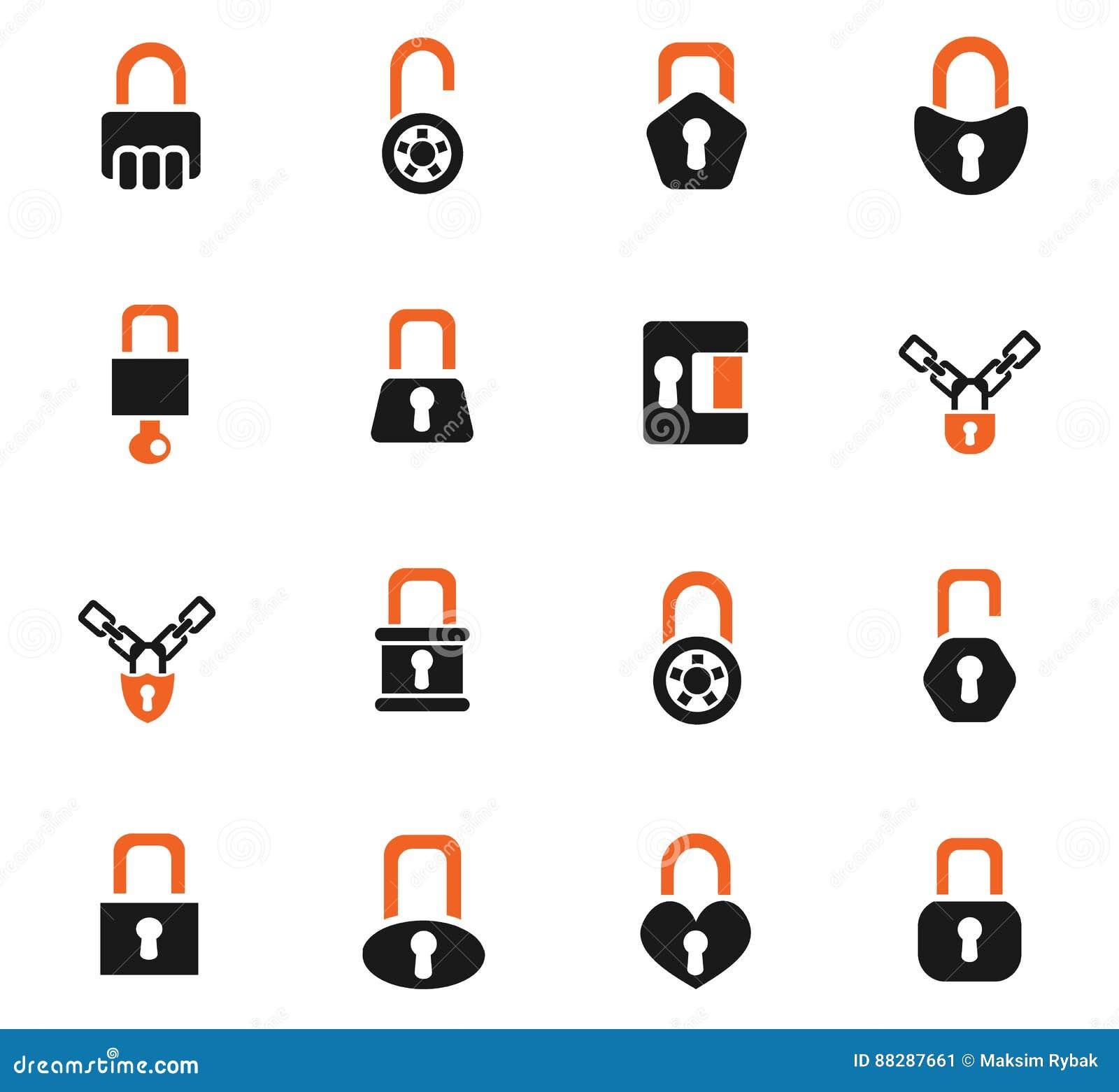 Lock icons set stock illustration  Illustration of damaged