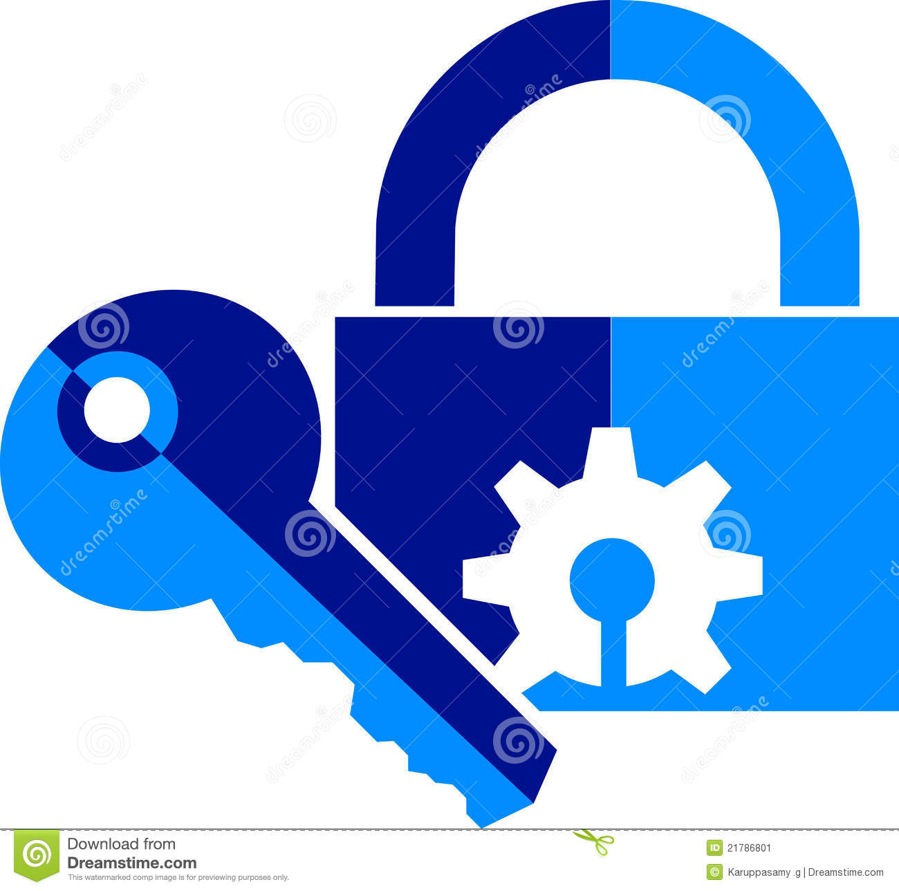 Illustration art of a lock and key logo with isolated background.