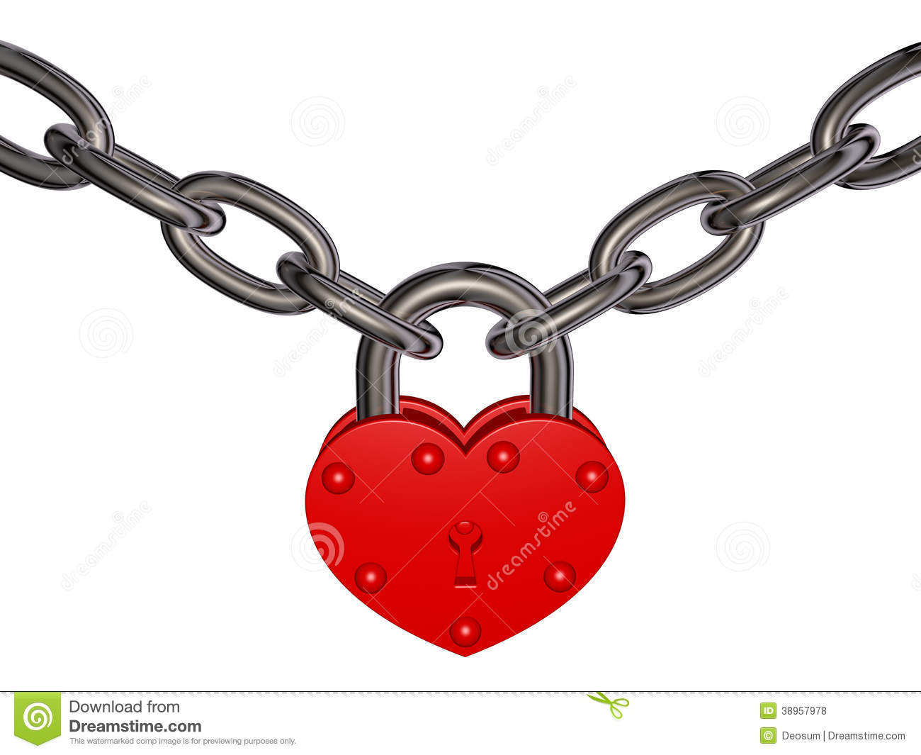 Lock Of Love - Red Heart Lock And Chain Stock Illustration ...