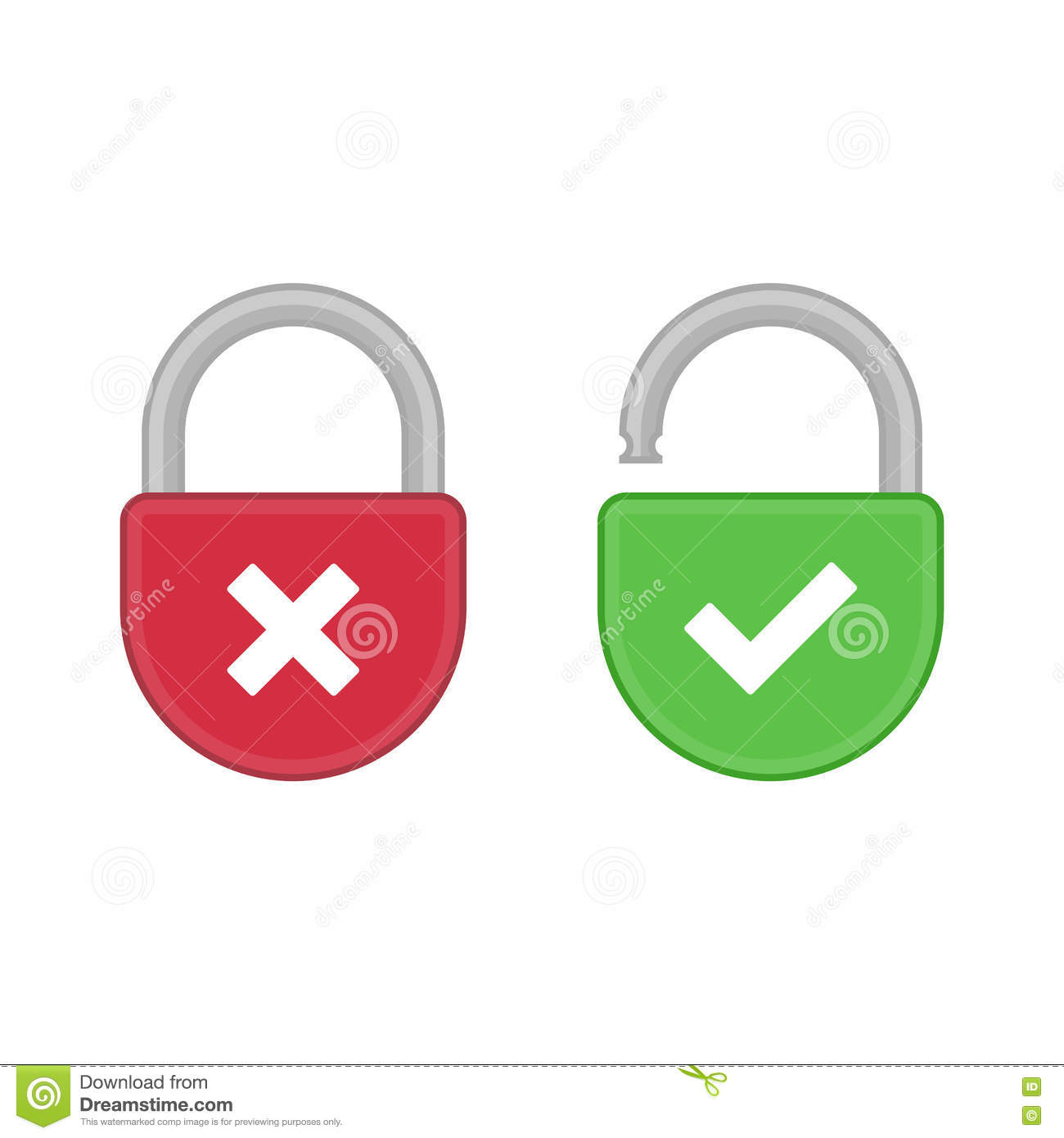 Lock Open And Closed Icon Stock Vector Illustration Of