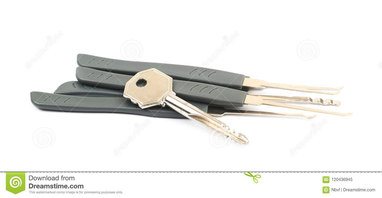 Lock picking tool isolated stock image  Image of door