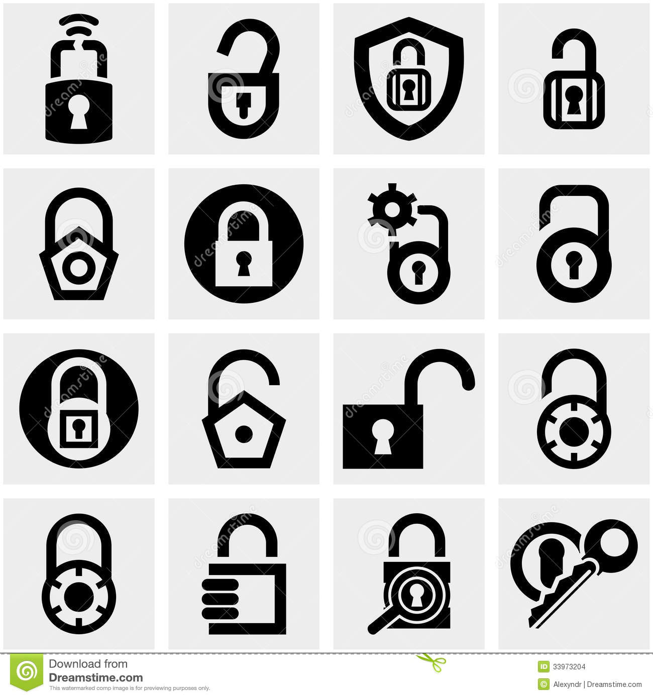 Lock Vector Icons Set On Gray Stock Images Image 33973204