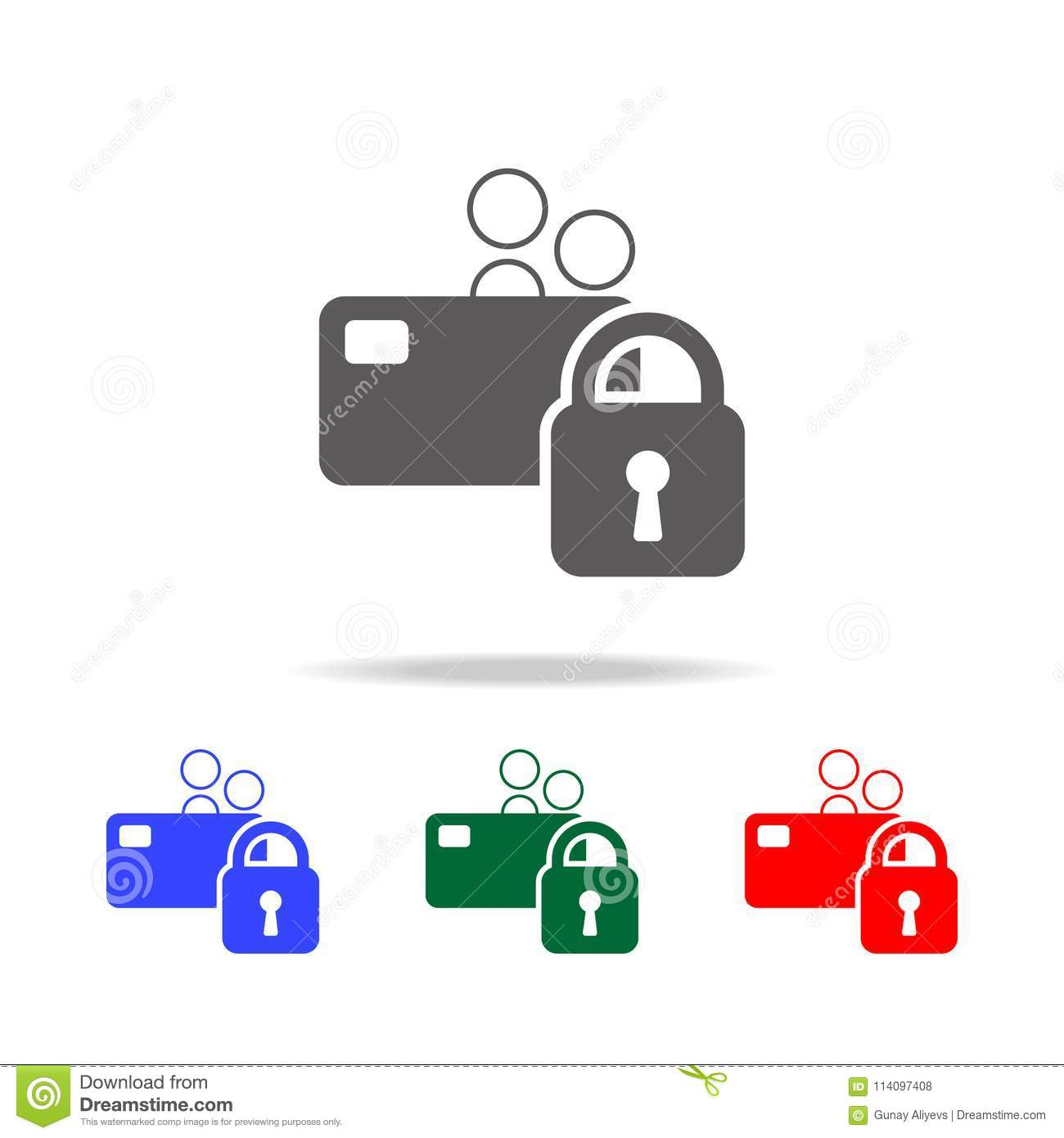 Locked Bank Card  Elements Of Cyber Security Multi Colored Icons