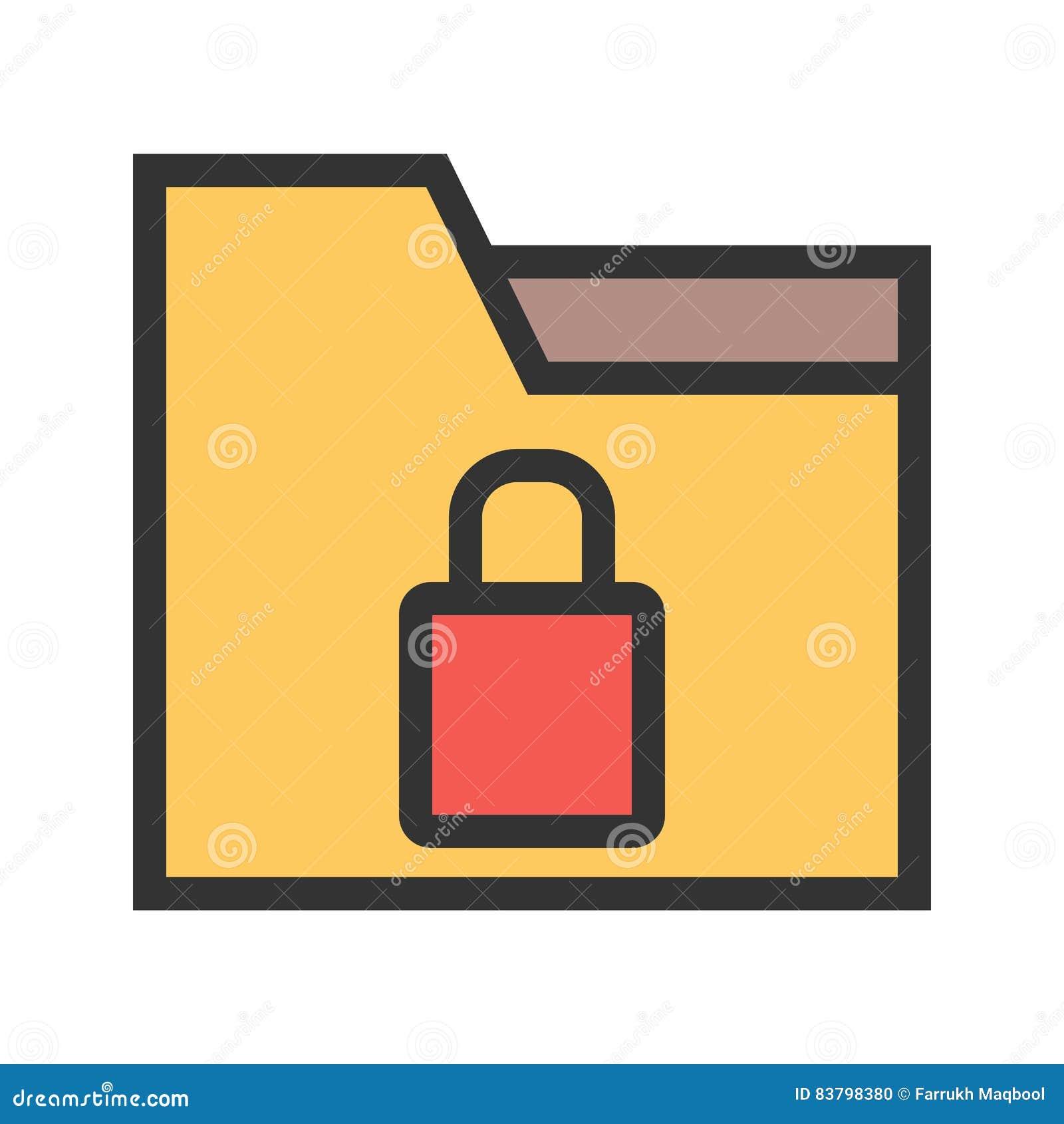 Locked folder stock vector. Illustration of icon, folder 80653332.