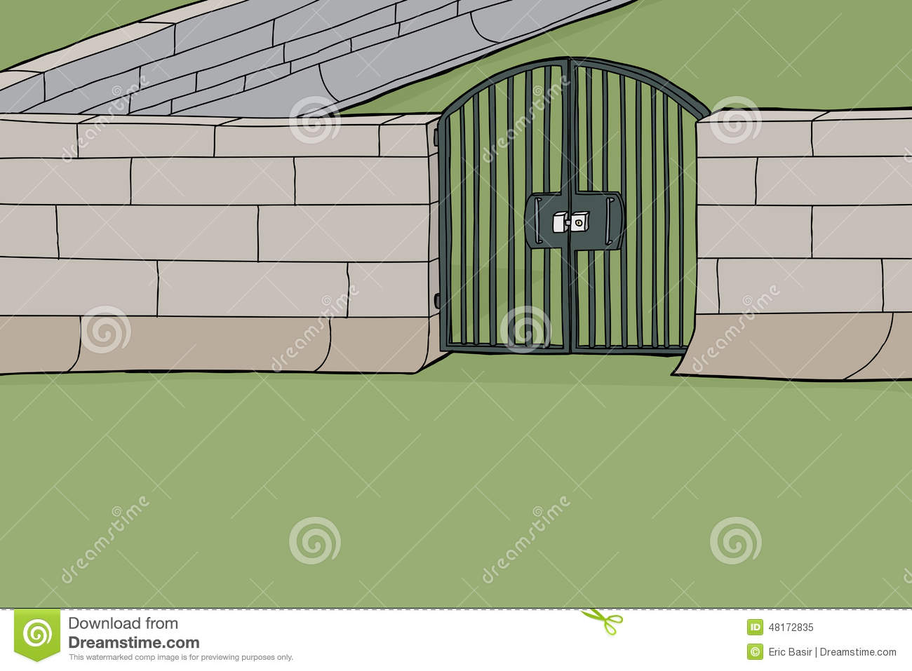 Locked Gate In Wall Stock Vector Image 48172835