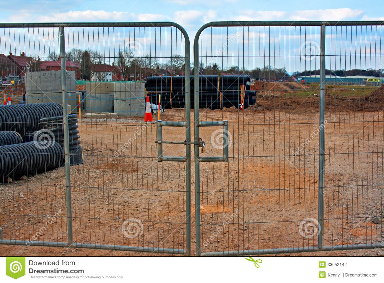 Locked Gates On Construction Site Stock Photography
