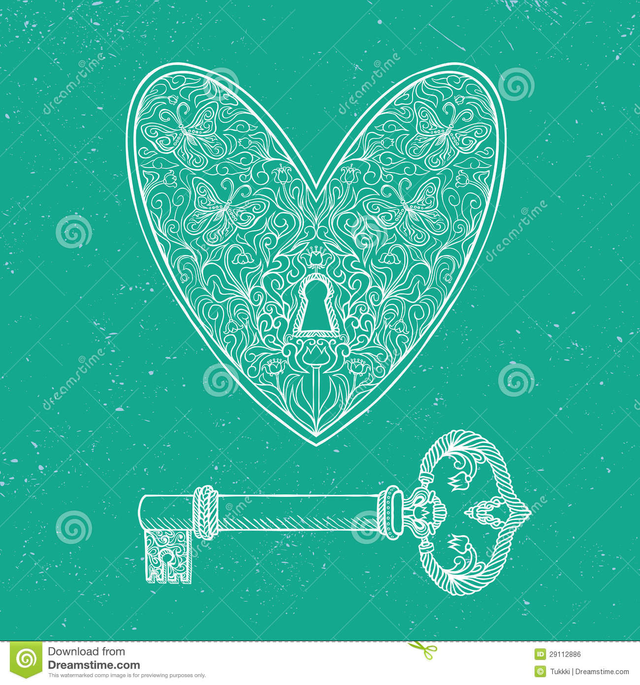 locked heart and key on emerald green background stock