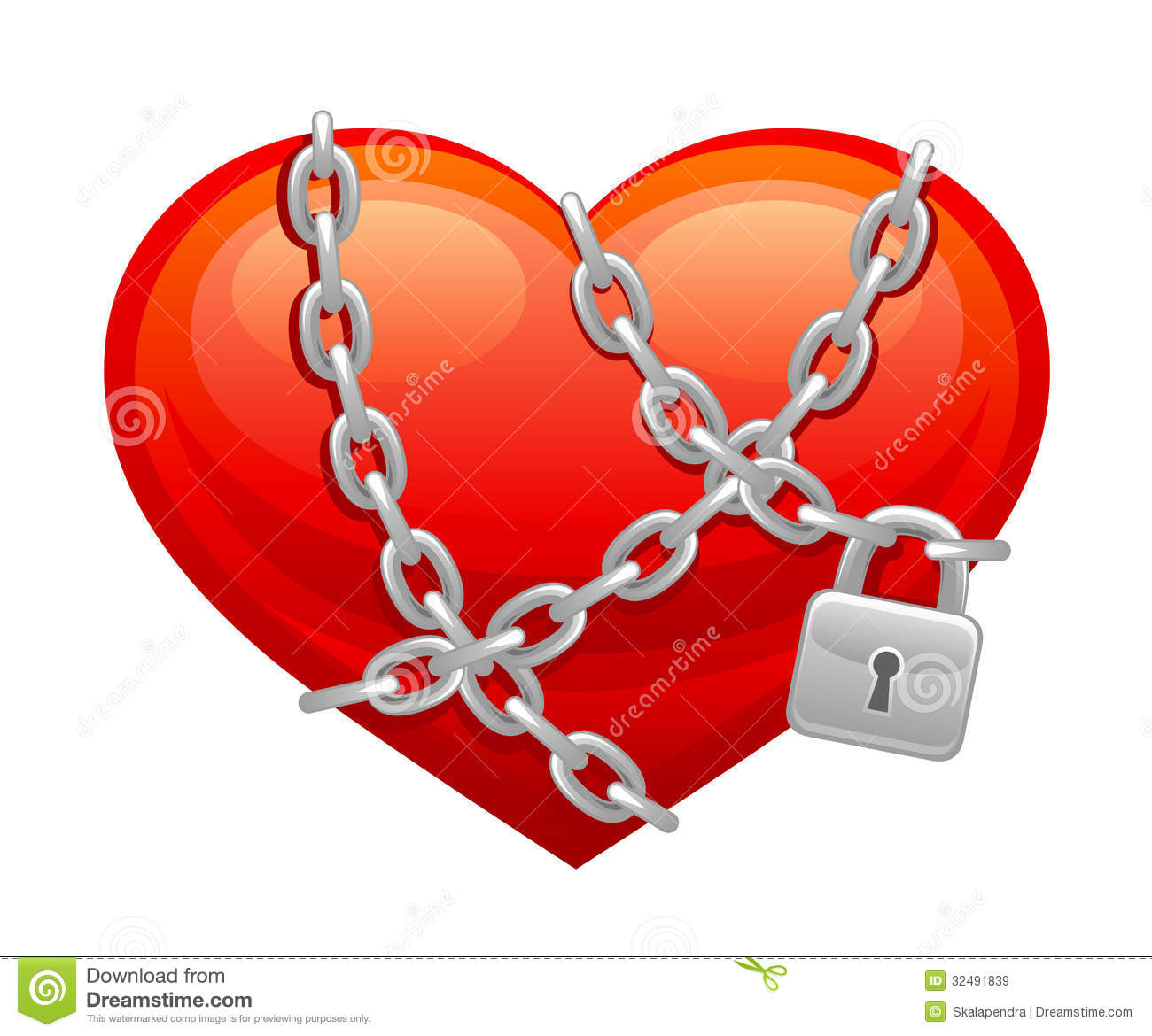Locked heart stock vector. Illustration of love, grey ...