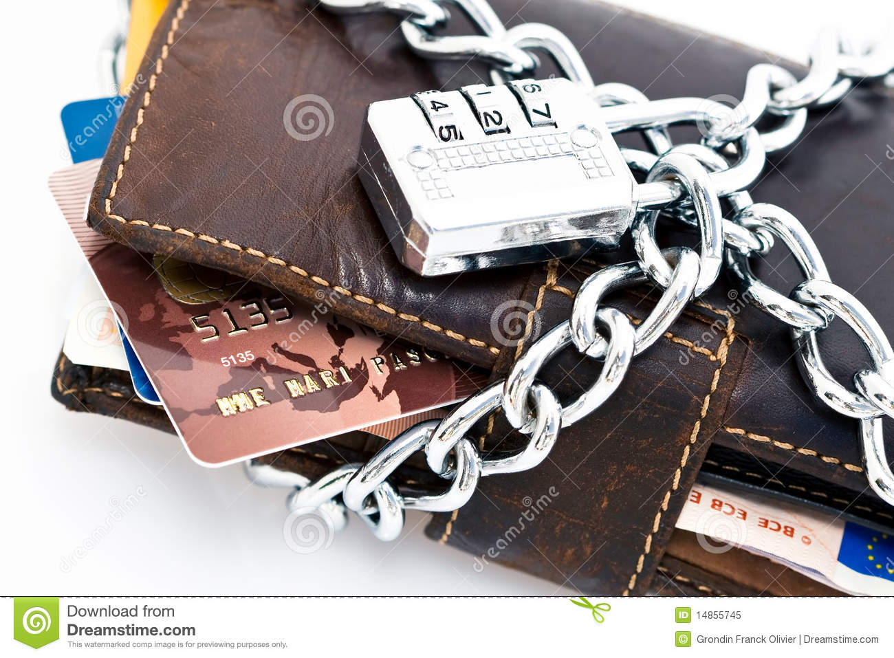 Locked wallet and credit cards