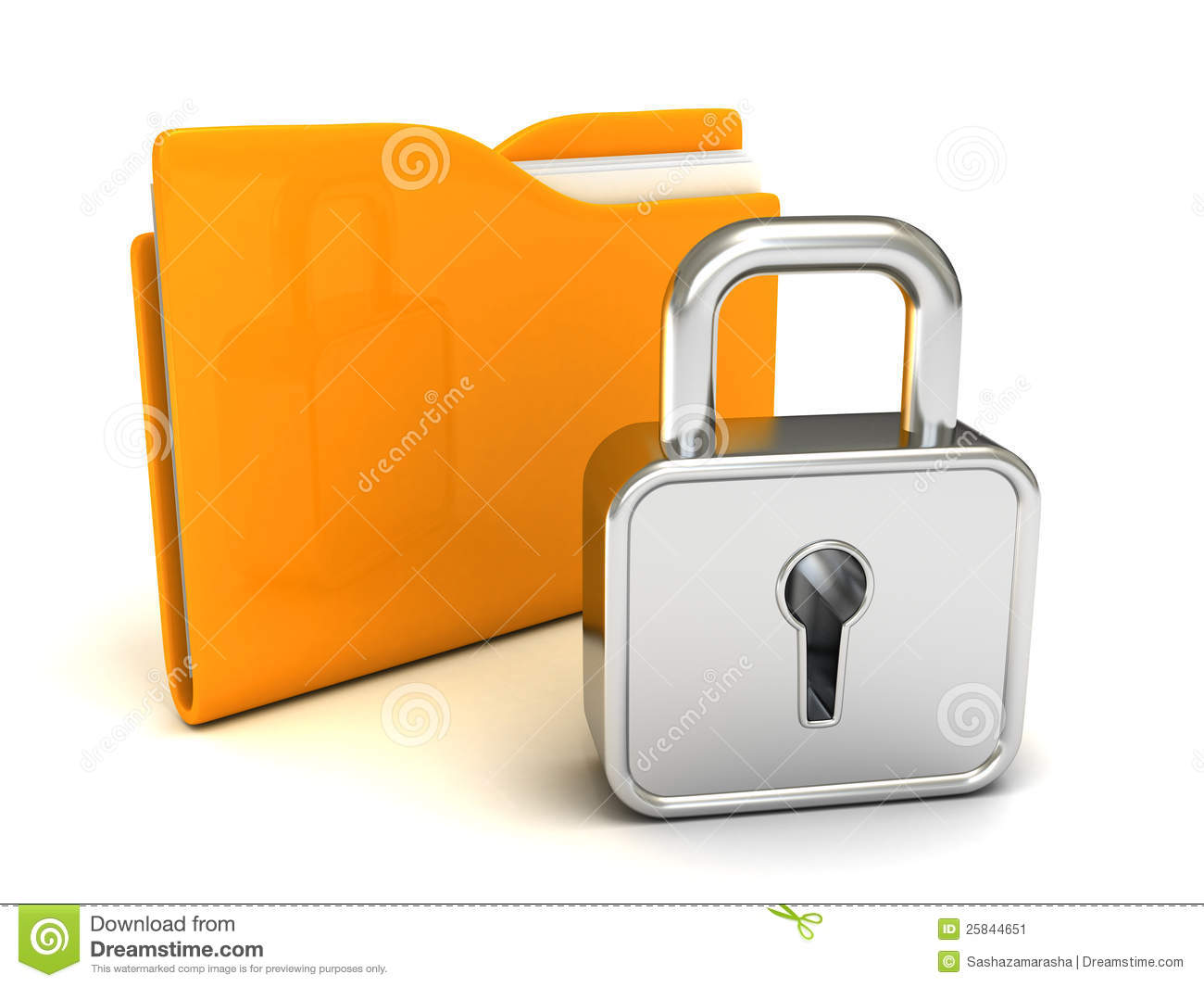 Locked Yellow Folder With Closed Padlock On White Stock ...