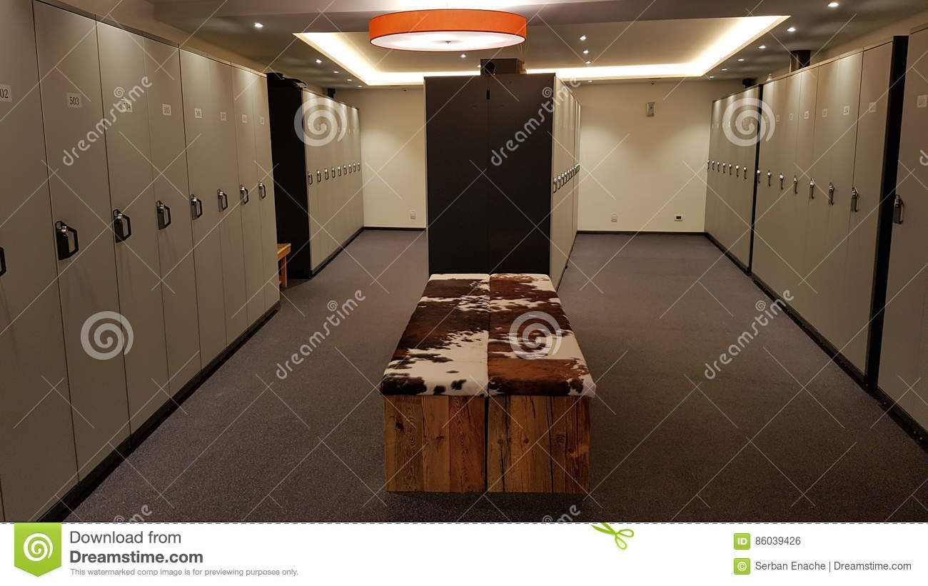 Lockers in a modern ski room