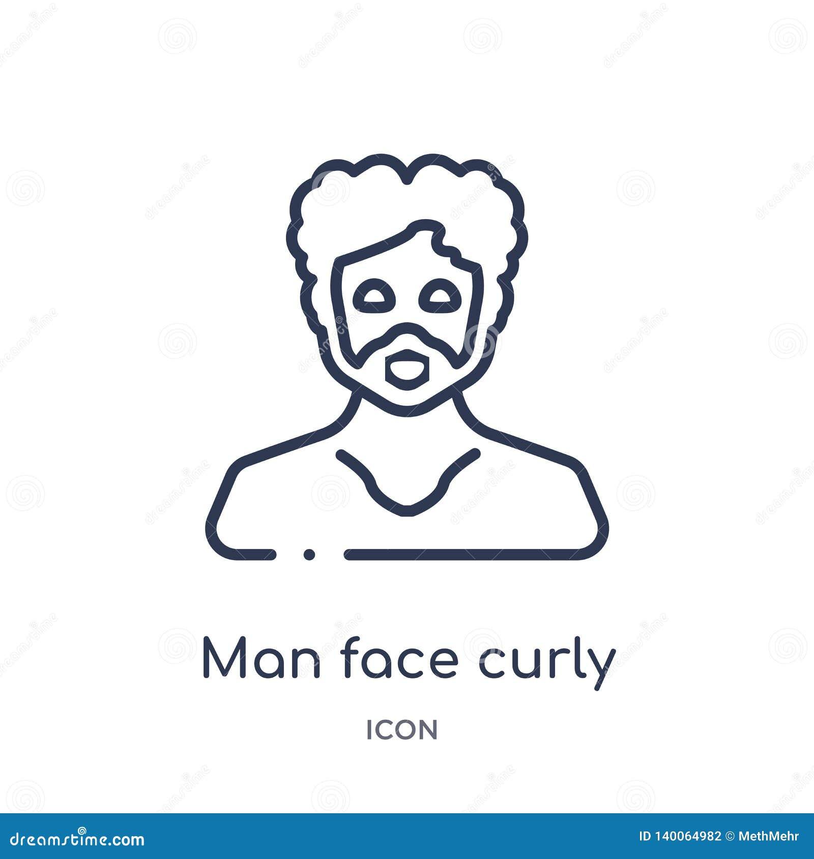 Lockigt hår för manframsida och mustaschsymbol från folköversiktssamling Den tunna linjen man vänder mot den isolerade symbolen f