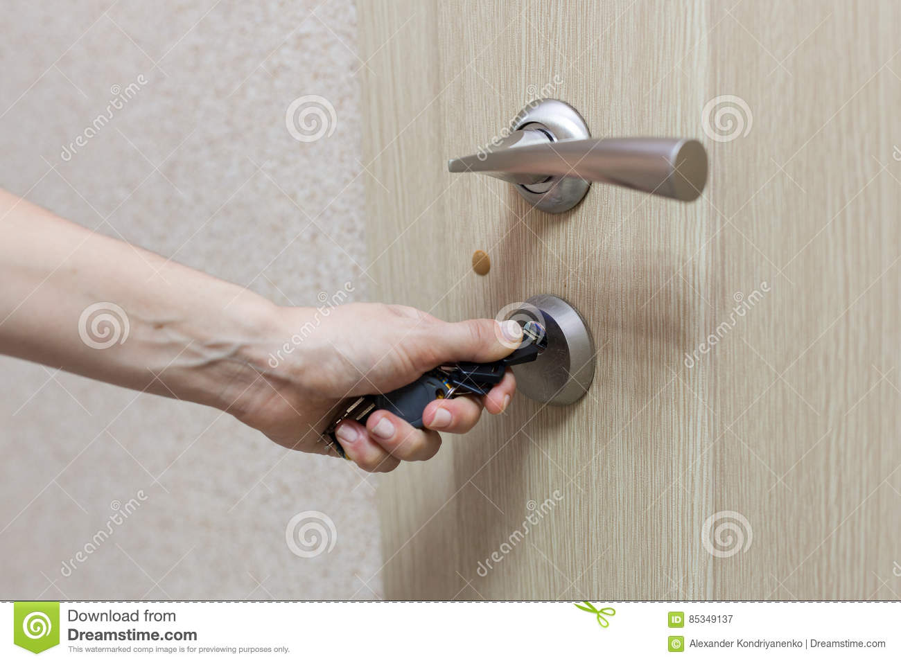 Locking Up Or Unlocking Door With Key In Hand  Stock Image