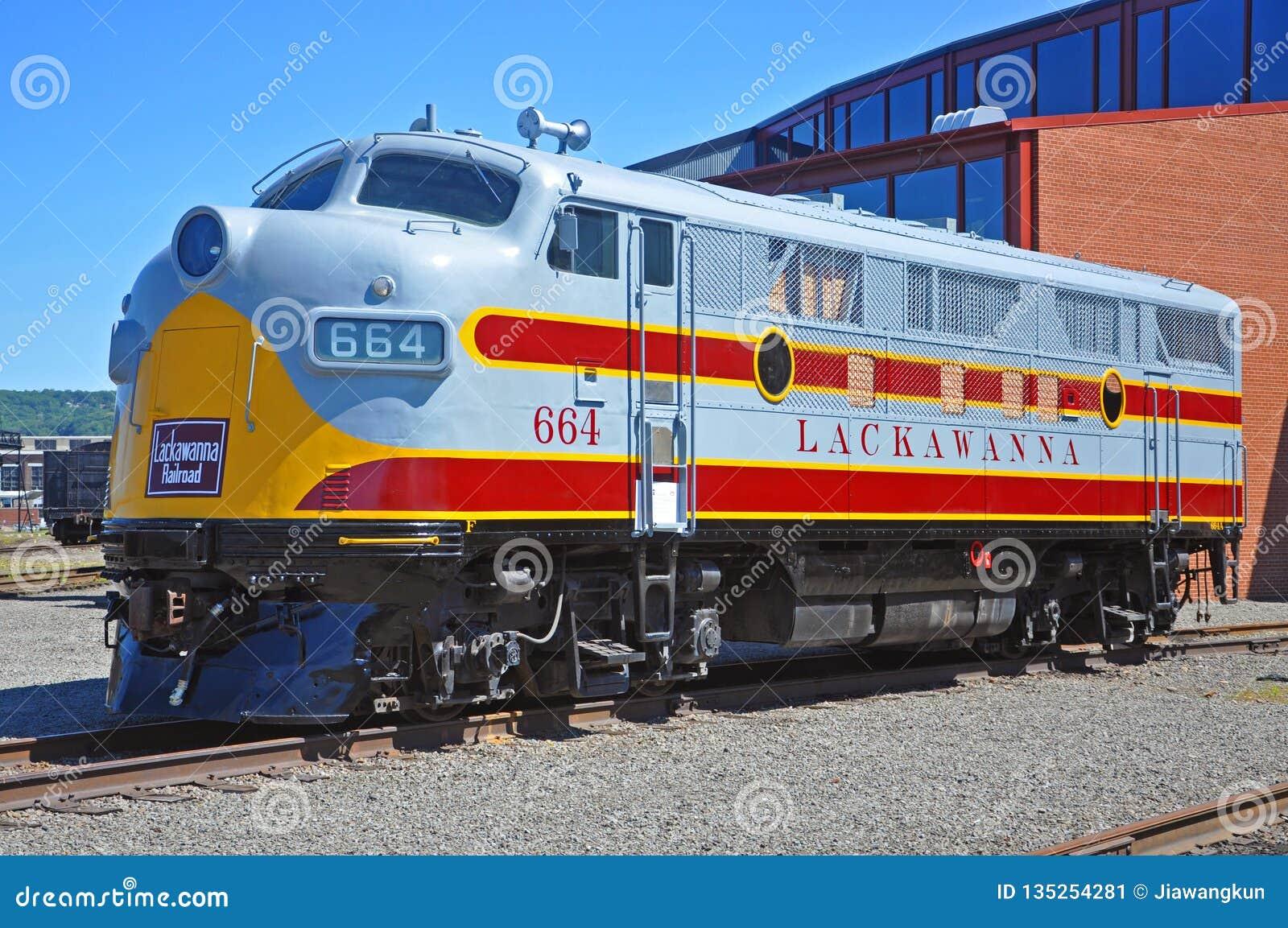 Locomotiva de diesel da estrada de ferro de Lackawanna, Scranton, PA, EUA