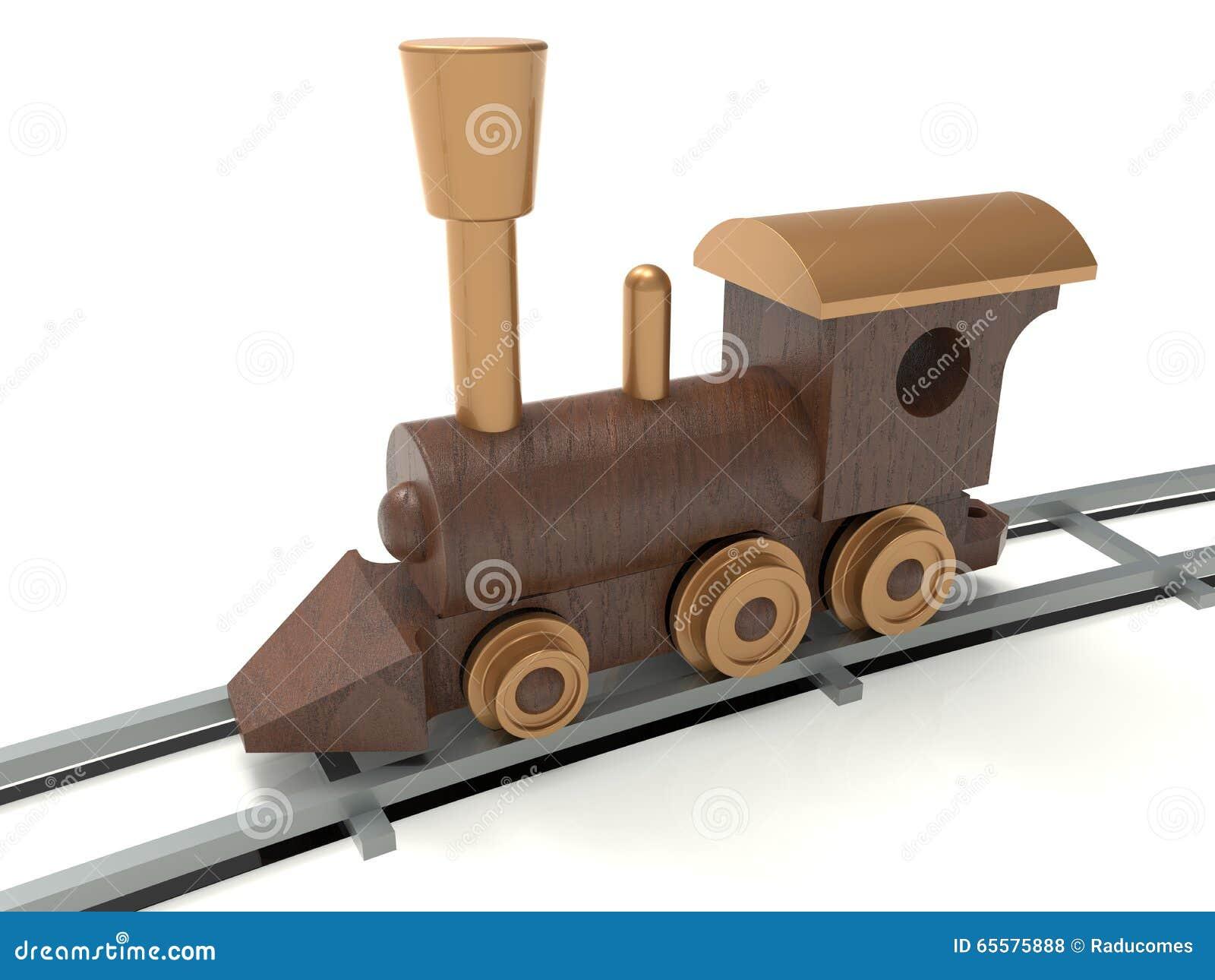 Locomotiva detalhada de madeira
