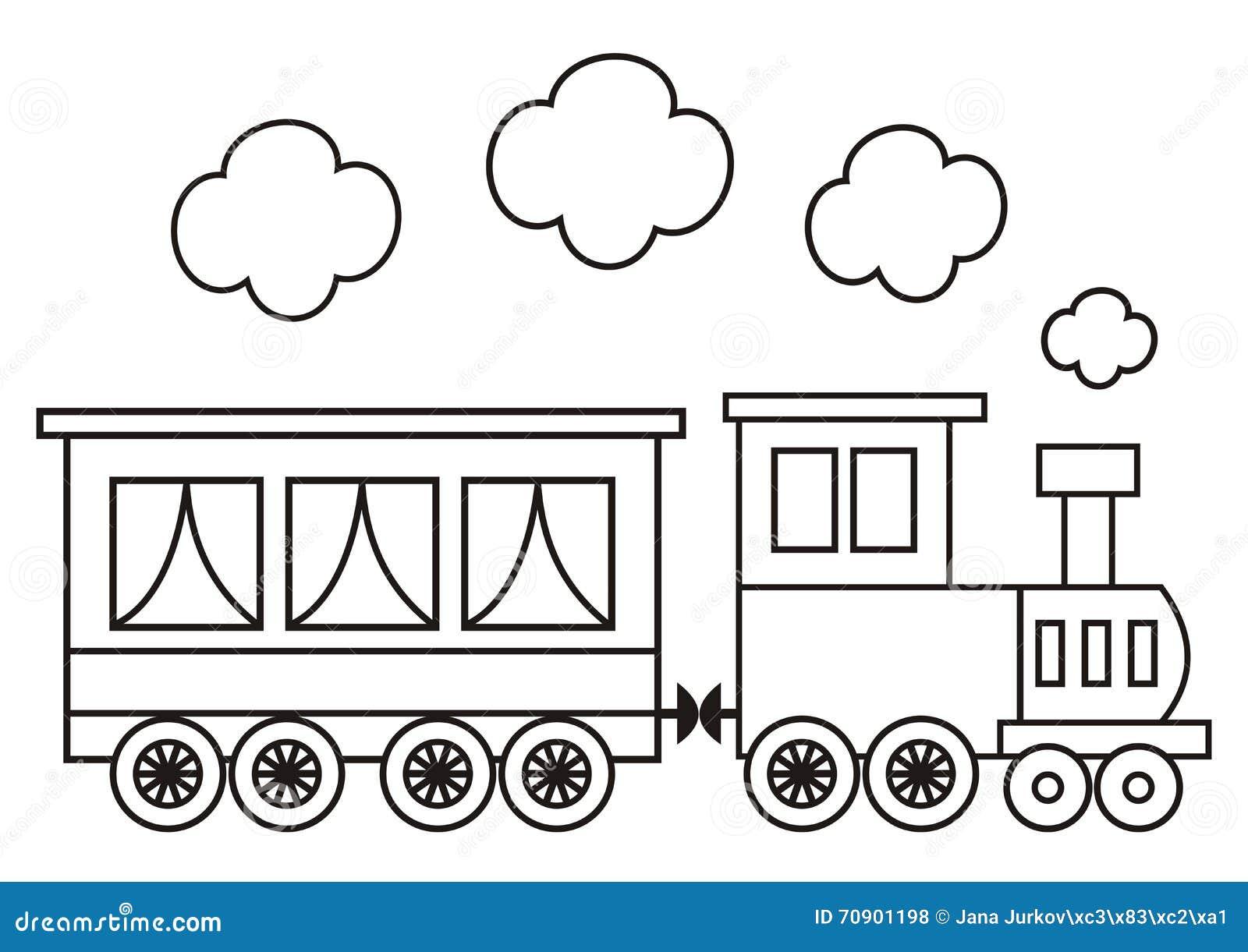 Locomotiva libro da colorare illustrazione vettoriale - Toddler libro da colorare ...