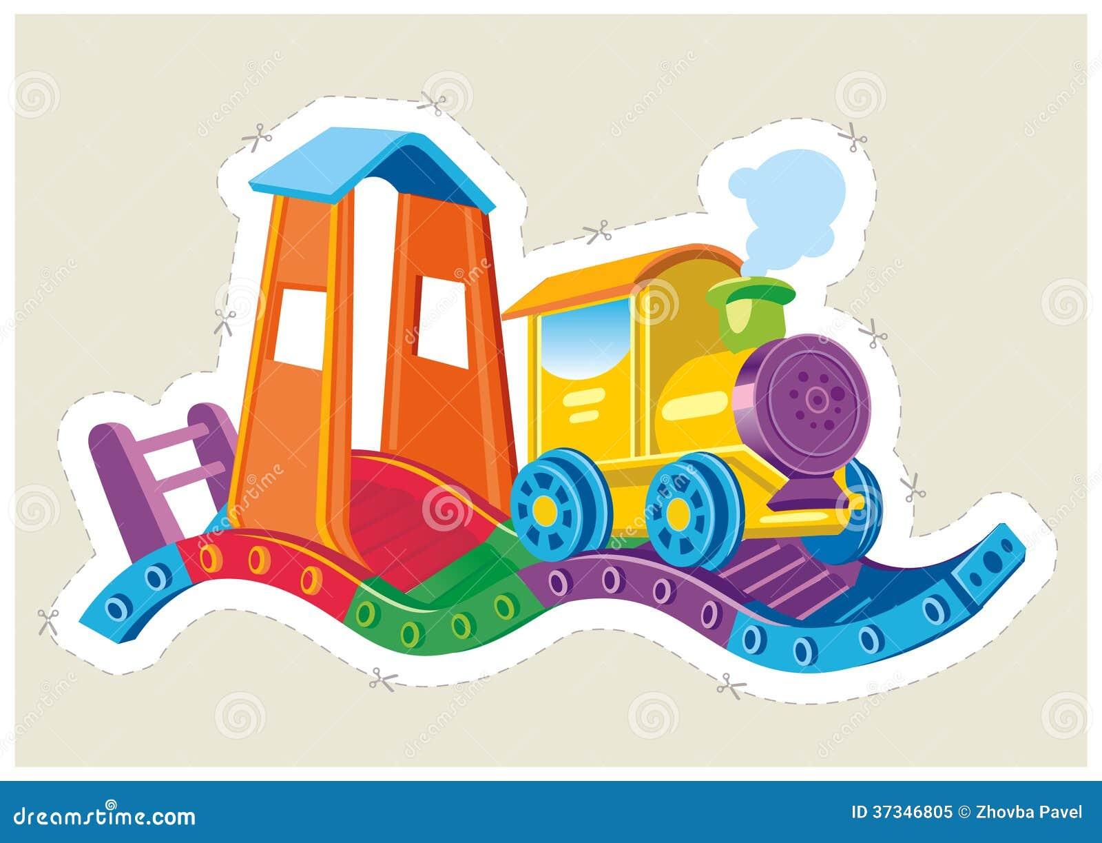 Locomotiva a vapore del giocattolo dei bambini.