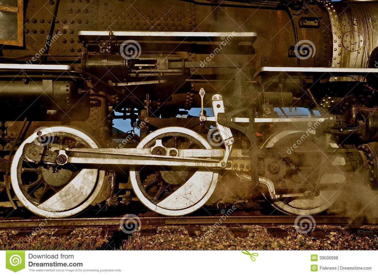 Locomotive blowing off steam