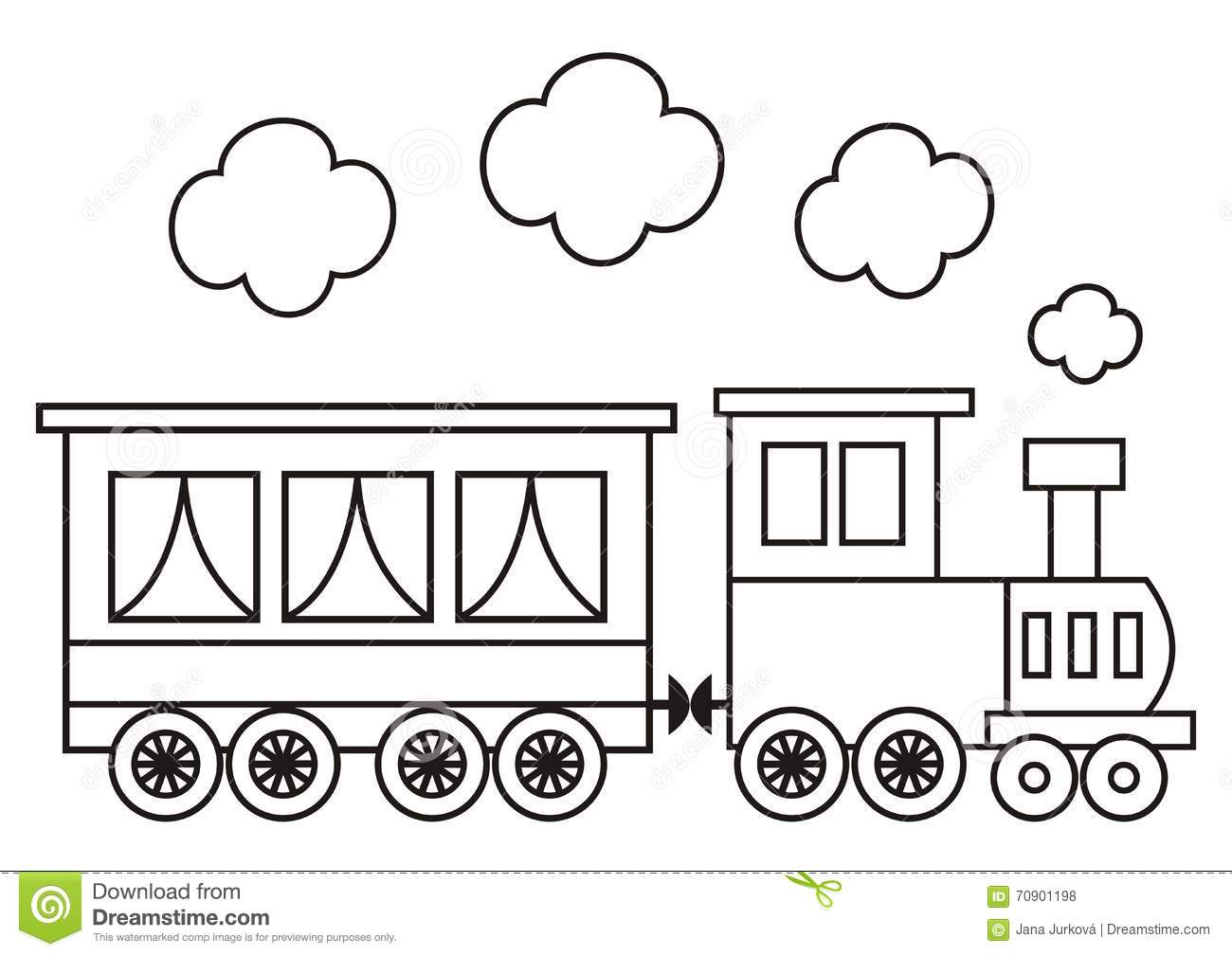 Locomotive Coloring Book Stock Vector Illustration Of Outline