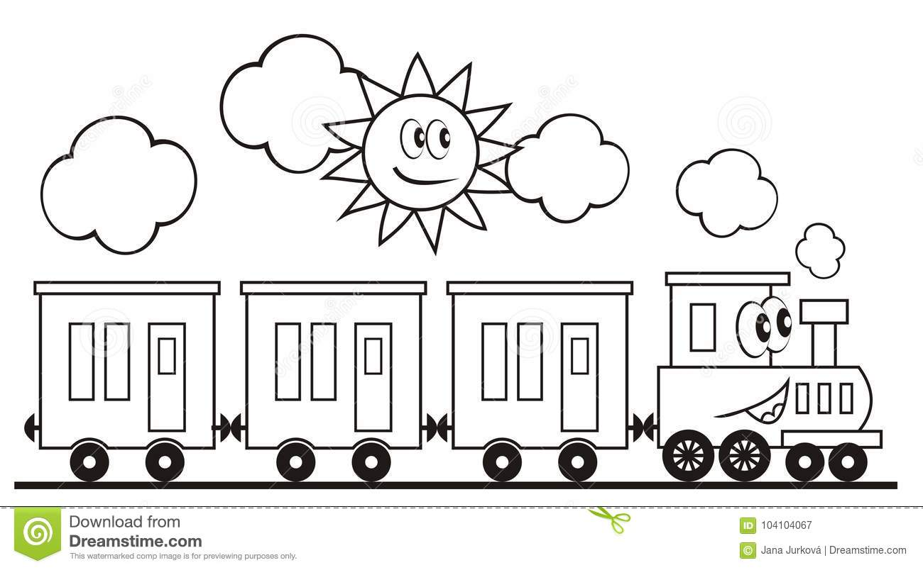 Locomotive With Eyes And Mouth. Train And Sun. Coloring Page For ...