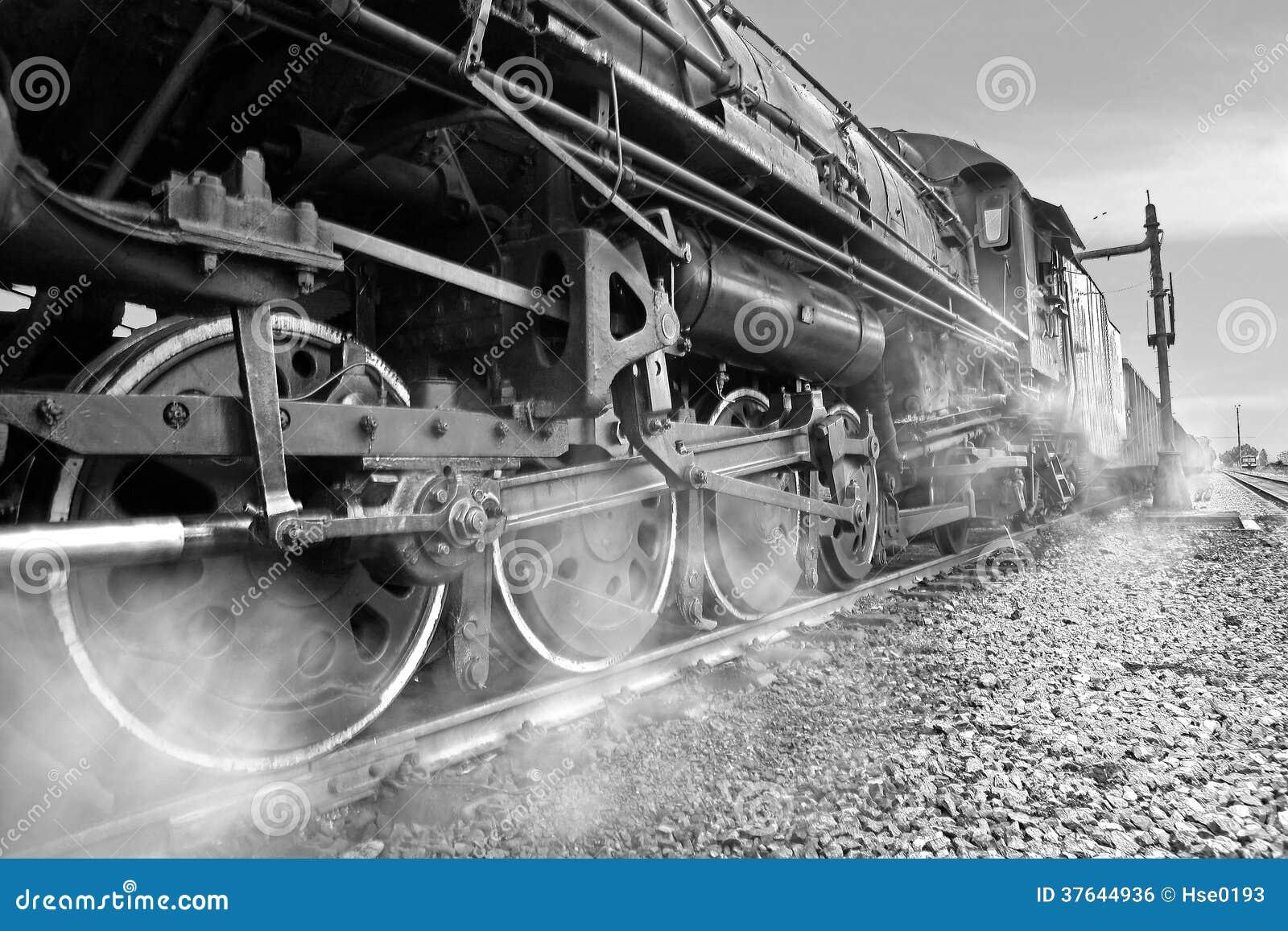 locomotive vapeur noire et blanche image libre de droits image 37644936. Black Bedroom Furniture Sets. Home Design Ideas