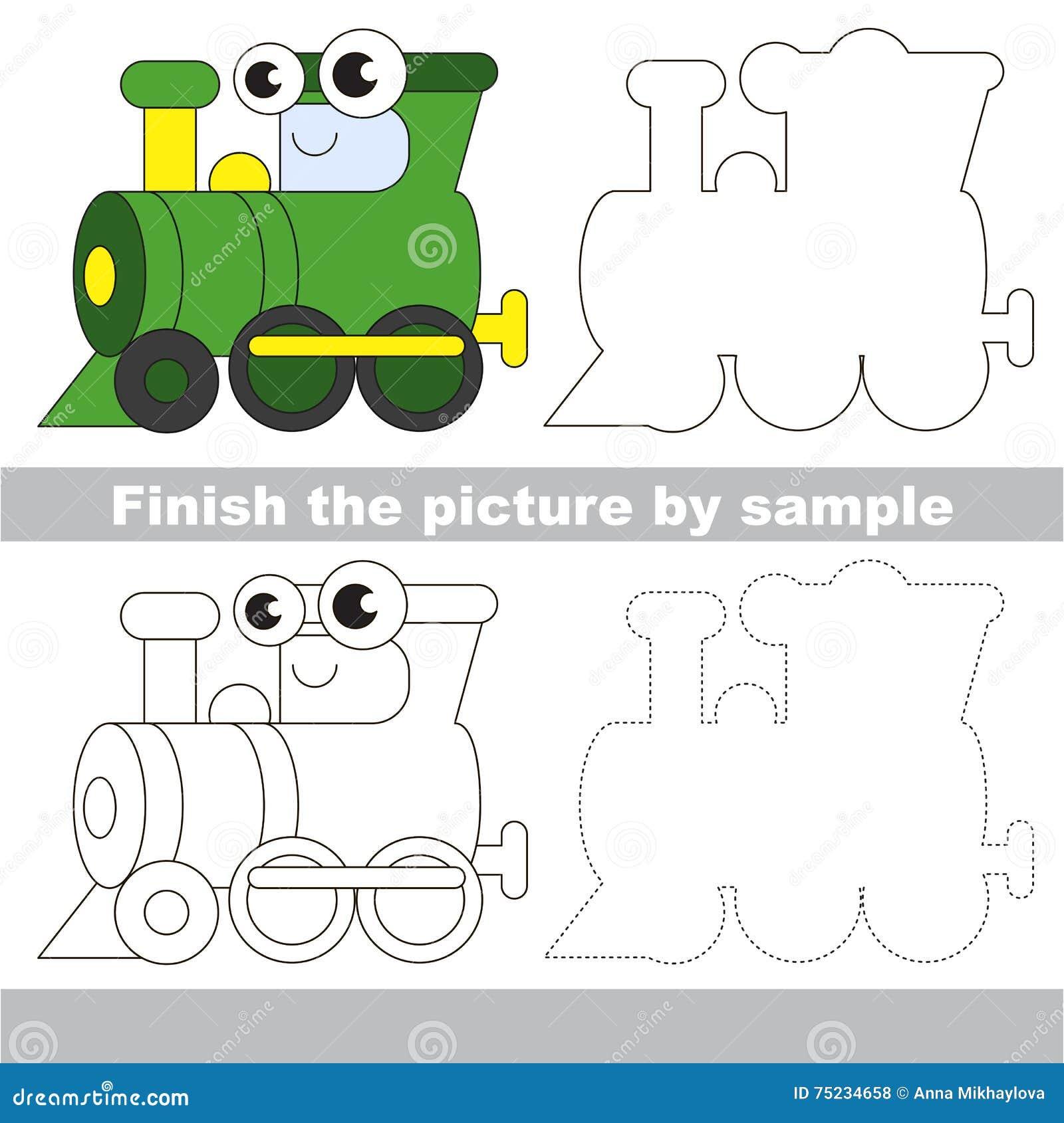 Locomotive Verte Fiche De Travail De Dessin Illustration De