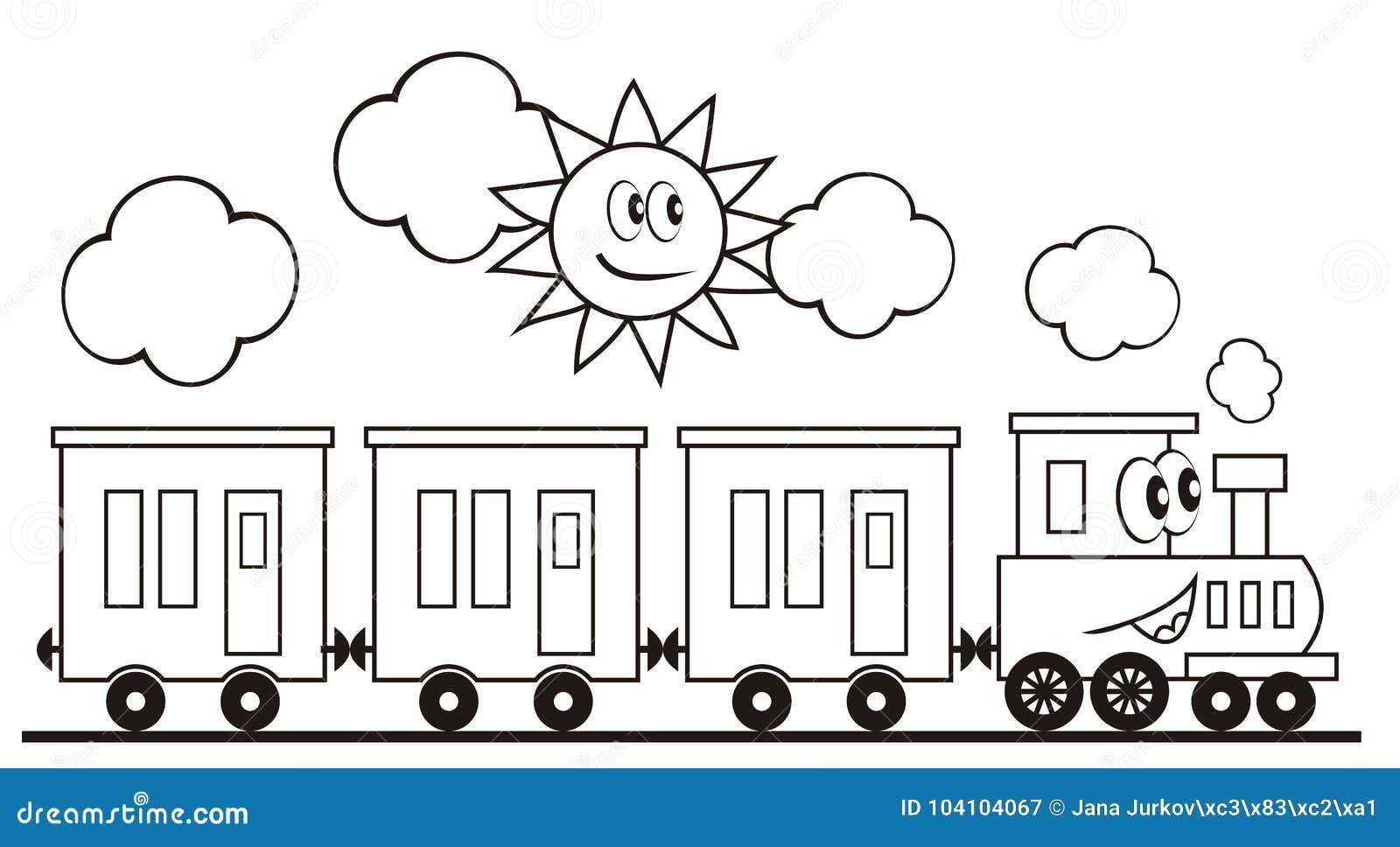 Locomotora Con Los Ojos Y La Boca Tren Y Sol Página Que Colorea Para ...