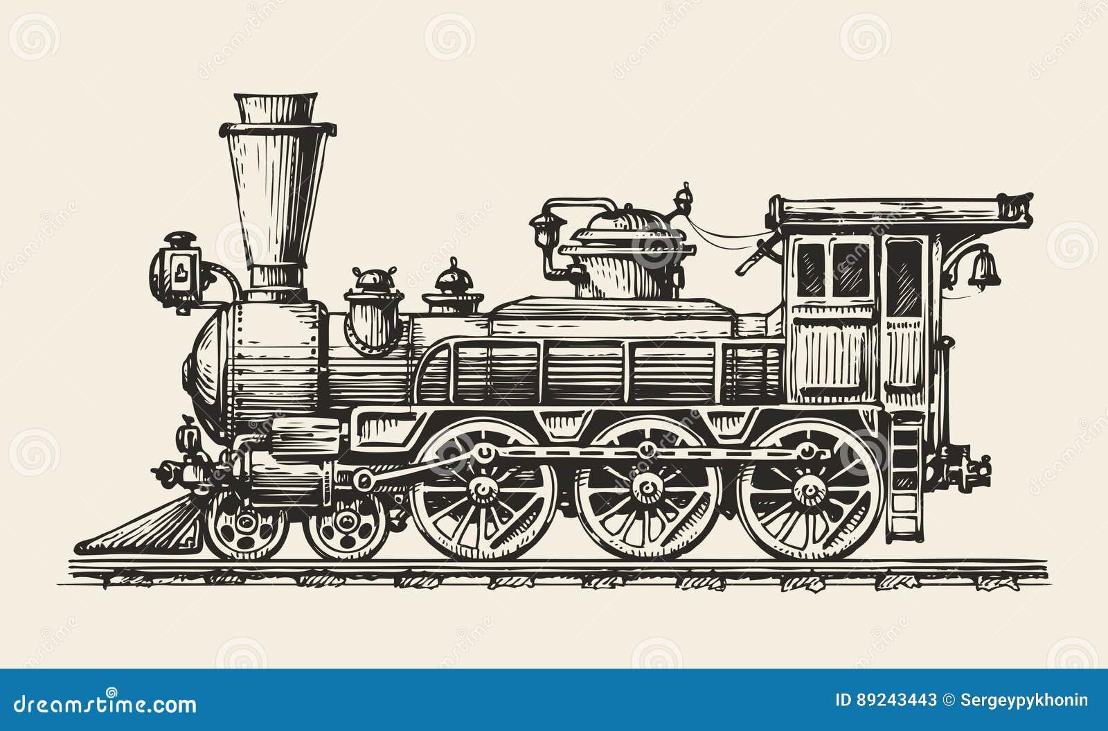 Locomotora De La Vendimia Aislada Tren Retro A Mano Bosquejo ...