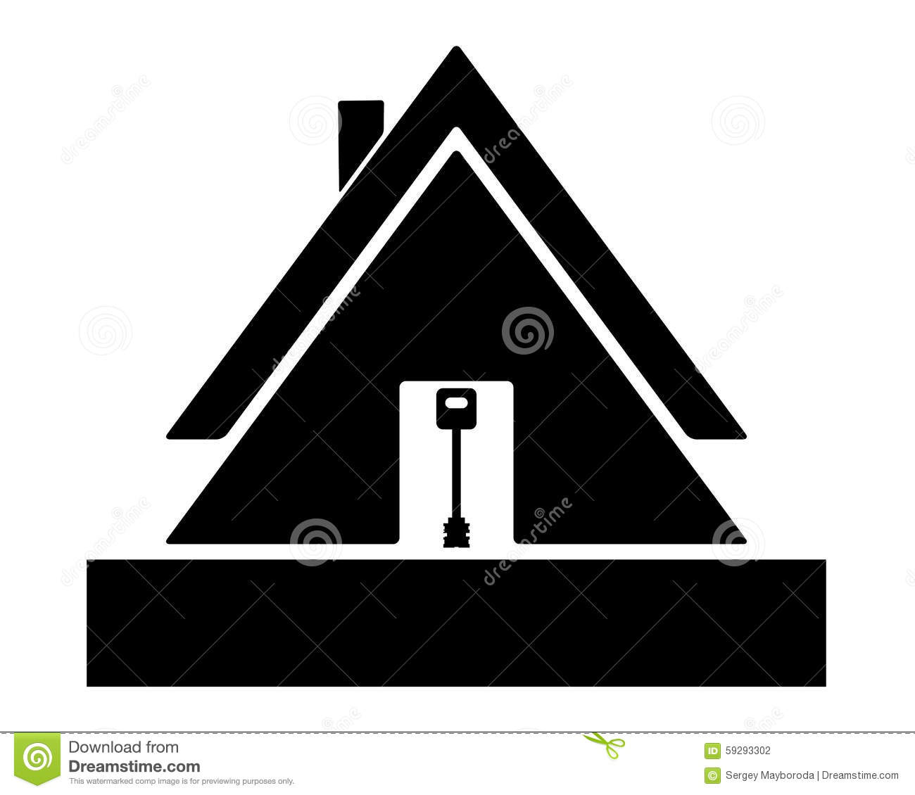 black house key. Black Silhouette Of A Residential House With Key