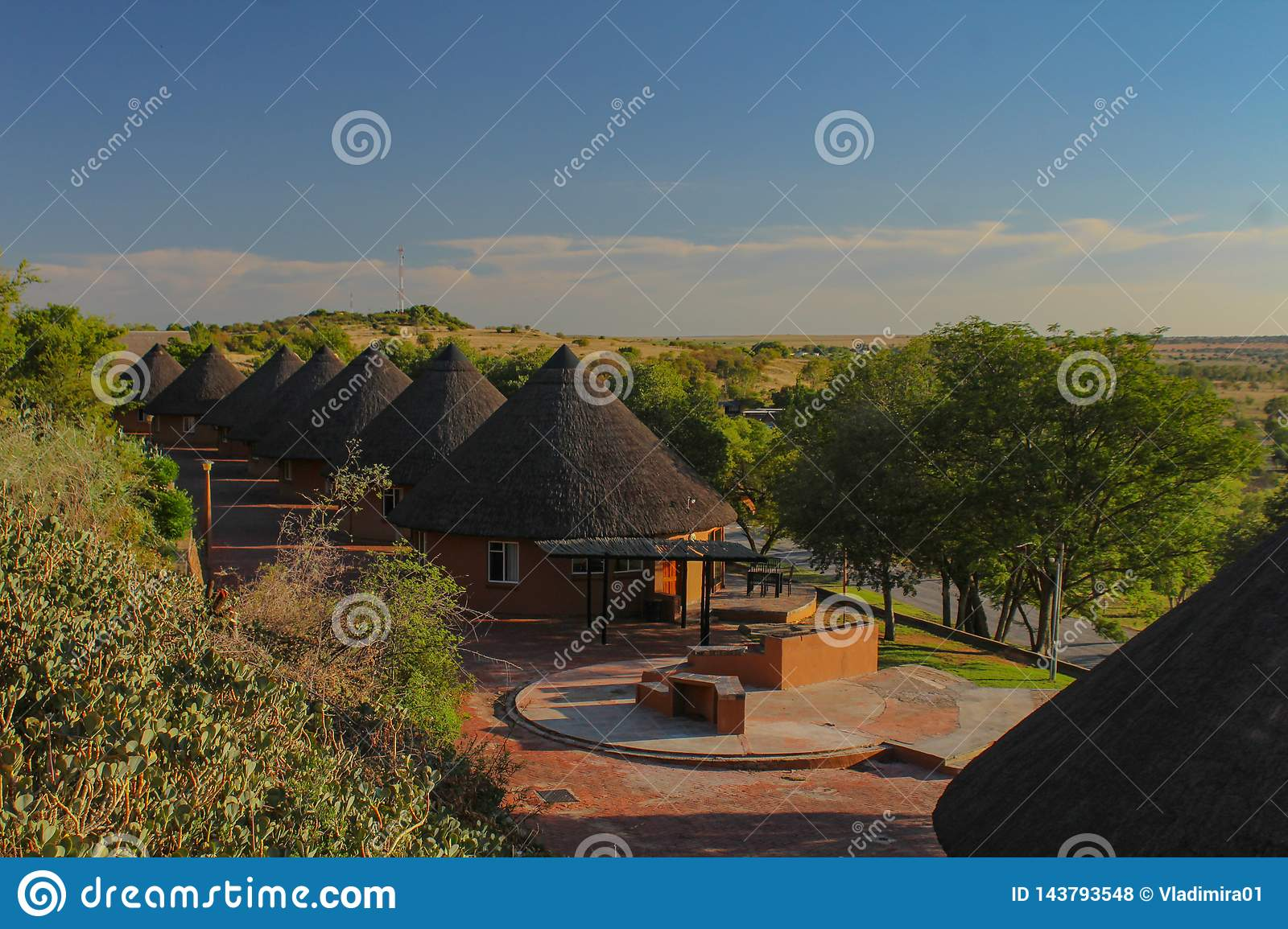 Tourism - small round lodges in Willem Pretorius game reserve in South Africa