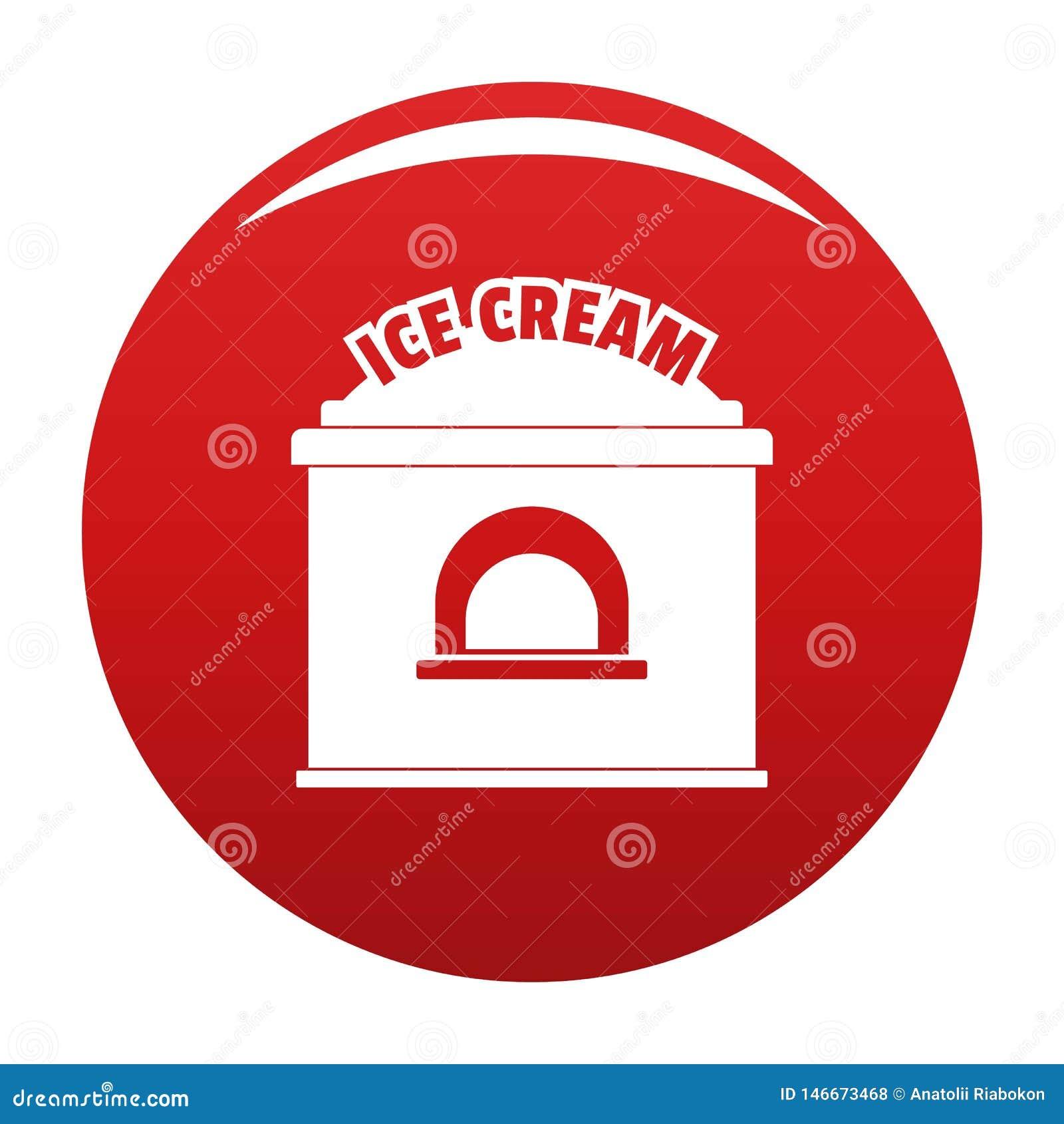 Lodowa creme handlu ikony wektoru czerwień