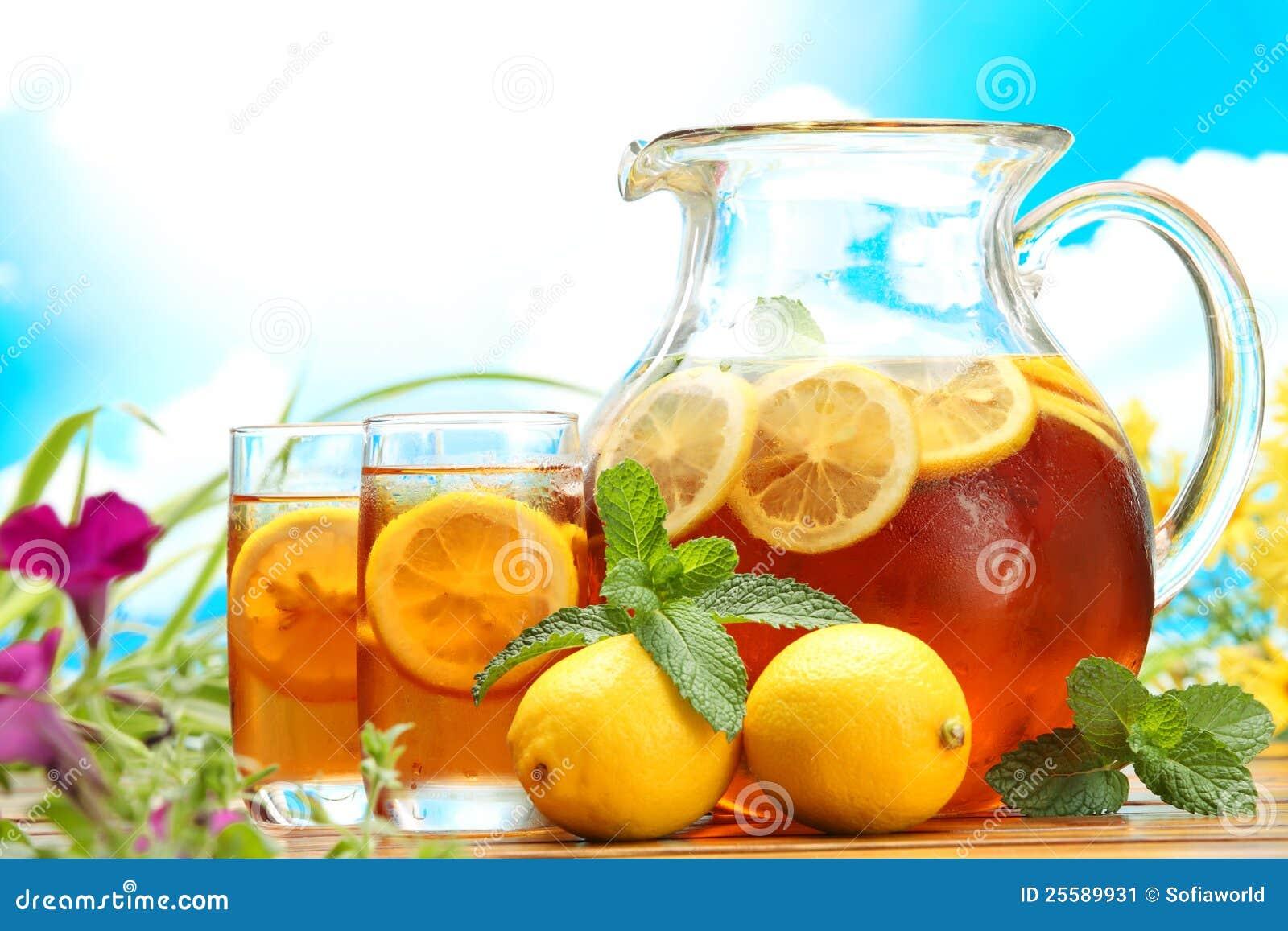 Lodowa cytryny lato herbata