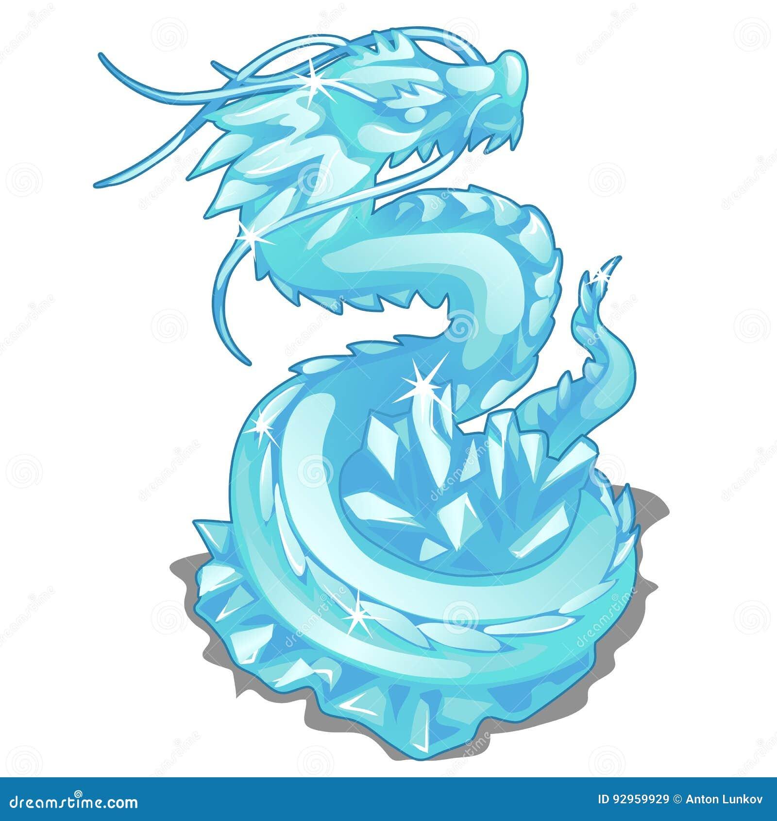 Lodowa figurka węża smok Wektorowy zwierzę