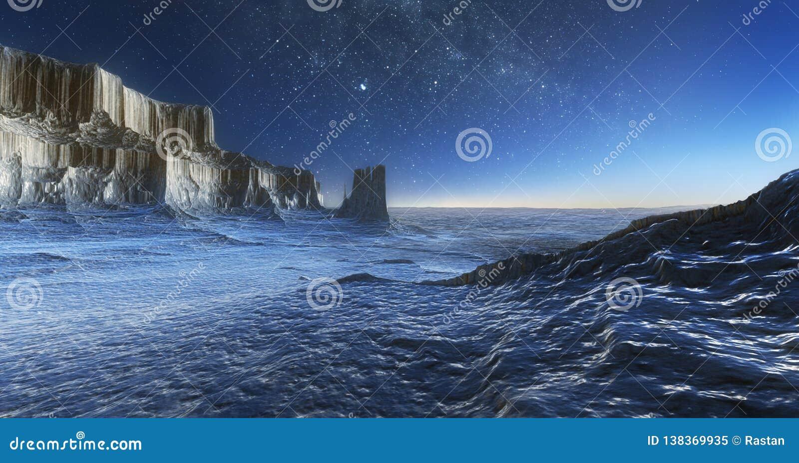 Lodowa pustynia przy nocą