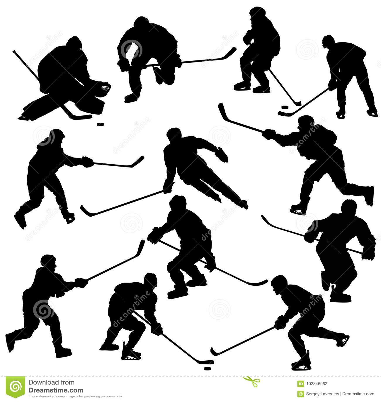 Lodowe gracz w hokeja sylwetki Ustawiać