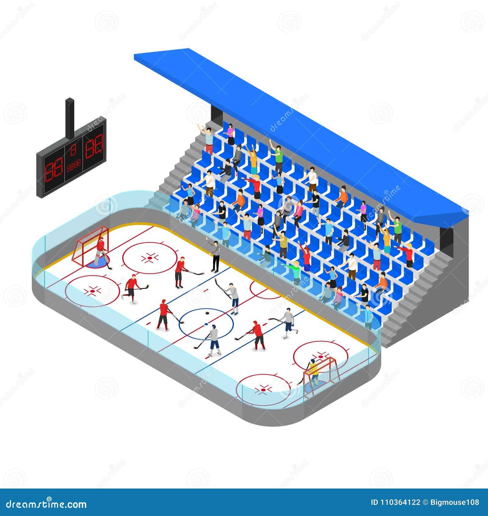 Lodowego hokeja areny pojęcia 3d Turniejowy Isometric widok wektor