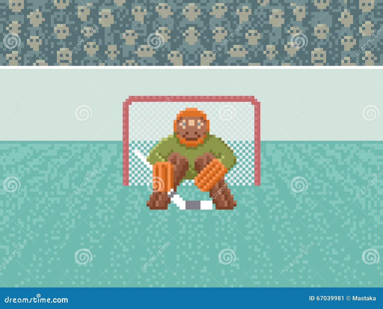 Lodowego hokeja bramkarz - piksel sztuki ilustracja